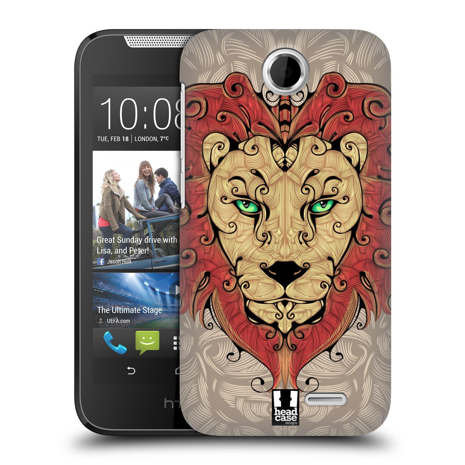 HEAD CASE plastový obal na mobil HTC Desire 310 vzor kudrlinky zvíře lev