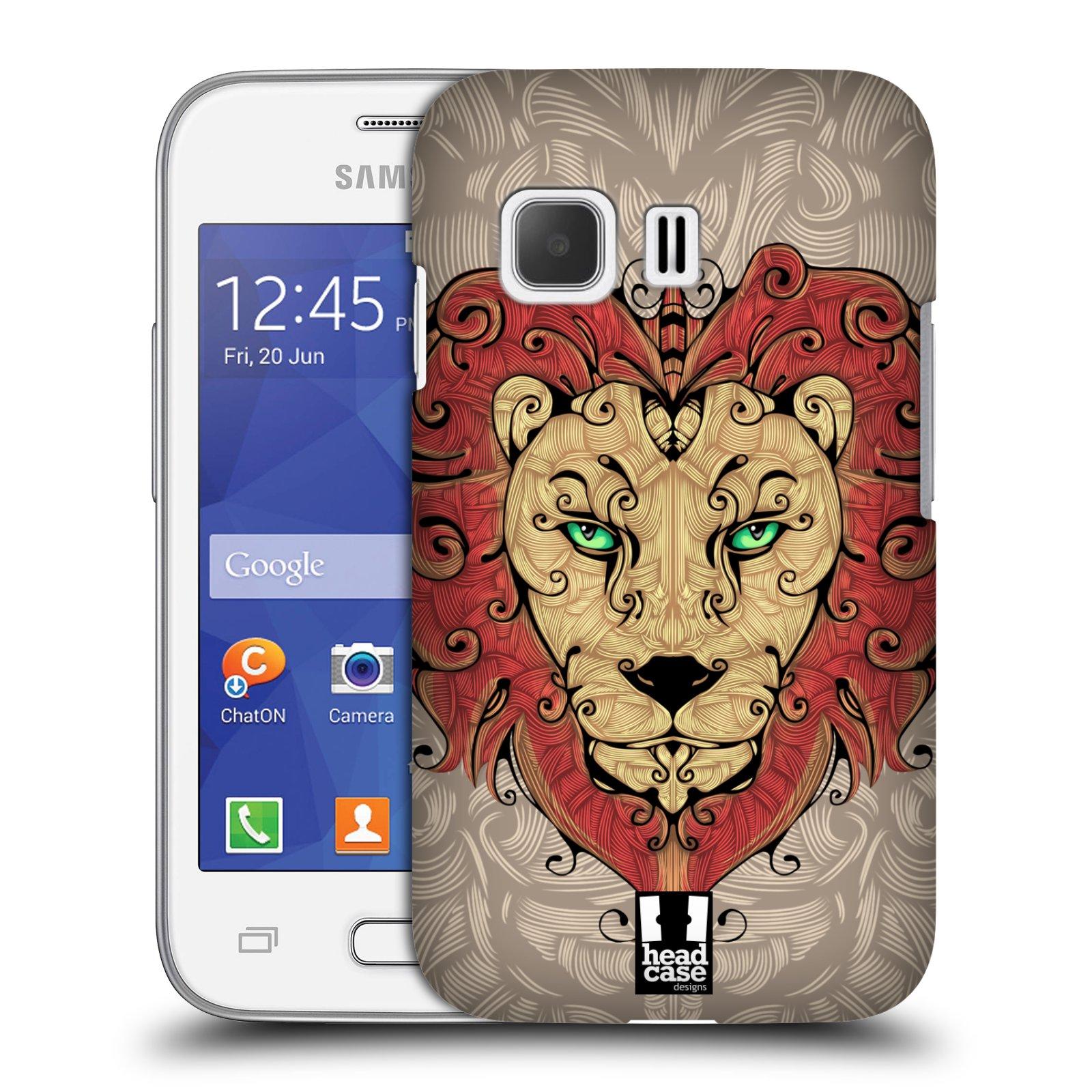 HEAD CASE plastový obal na mobil SAMSUNG Galaxy Young 2 (G130) vzor kudrlinky zvíře lev