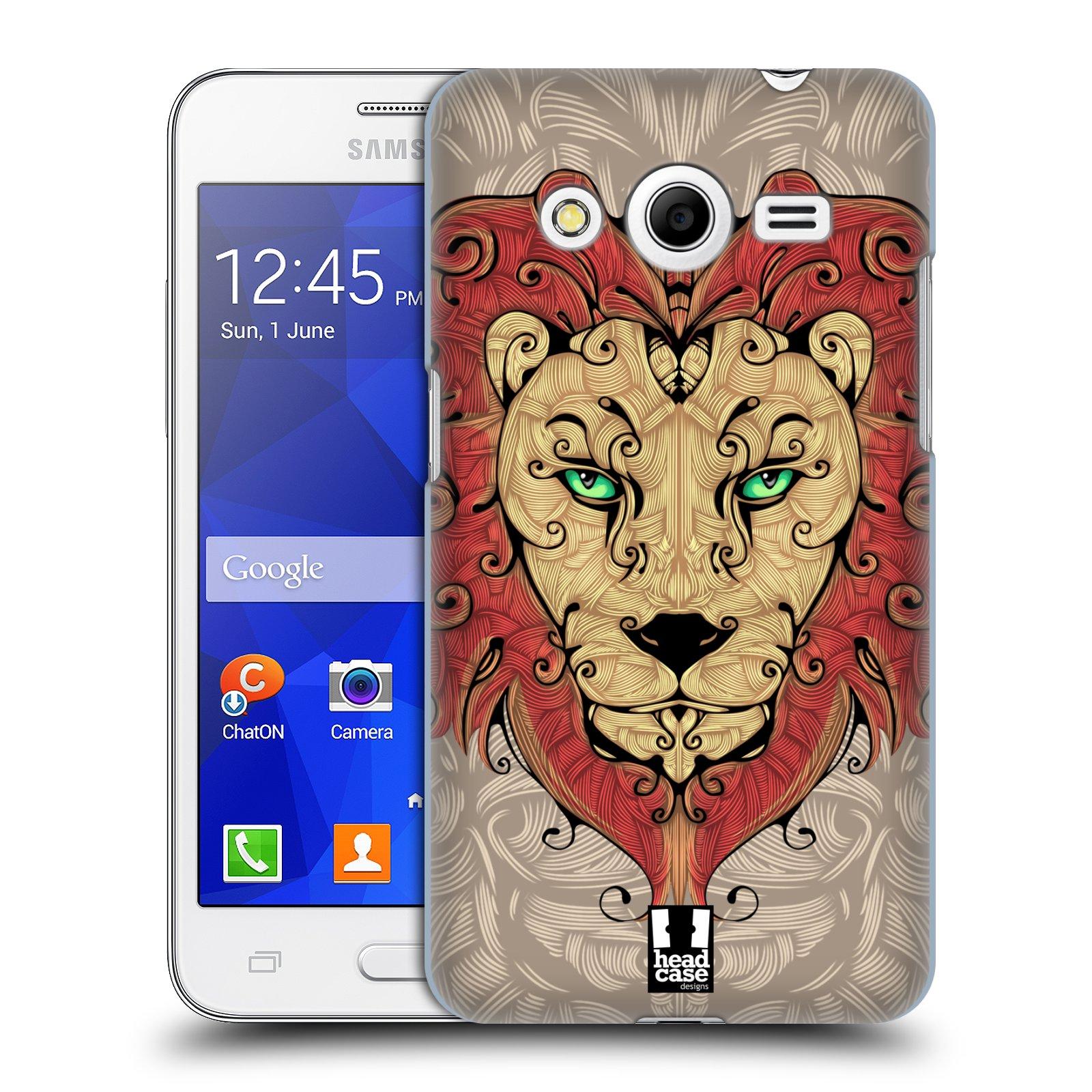 HEAD CASE plastový obal na mobil SAMSUNG GALAXY Core 2 (G355H) vzor kudrlinky zvíře lev