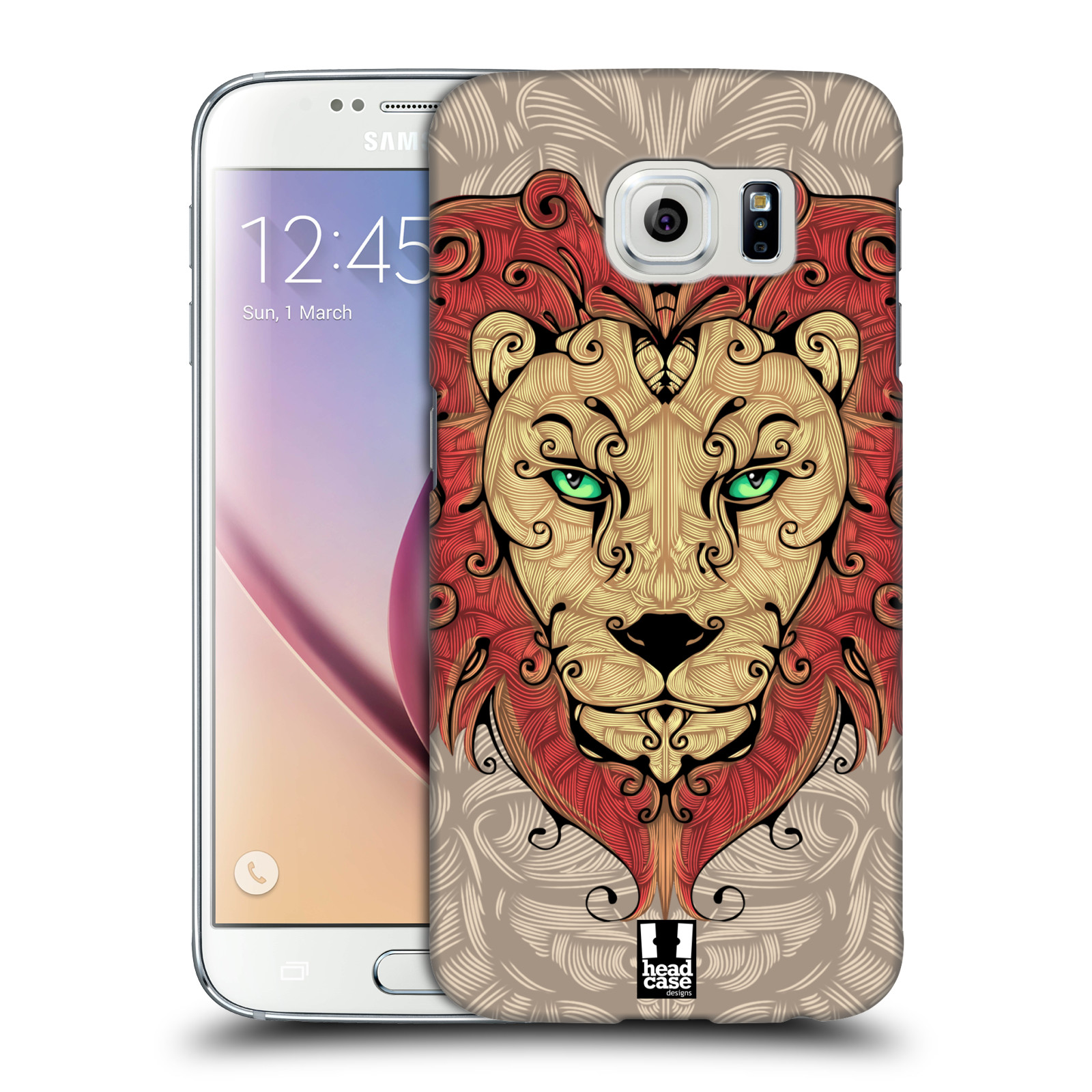 HEAD CASE plastový obal na mobil SAMSUNG Galaxy S6 (G9200, G920F) vzor kudrlinky zvíře lev
