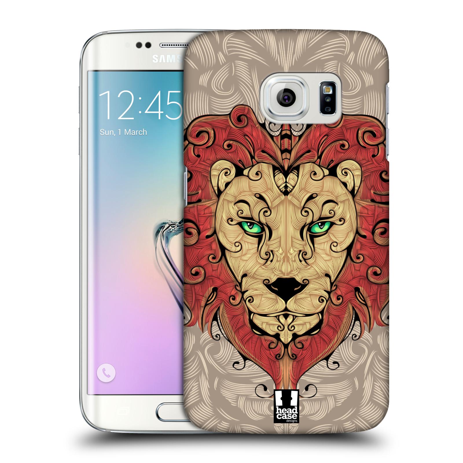 HEAD CASE plastový obal na mobil SAMSUNG Galaxy S6 EDGE (G9250, G925, G925F) vzor kudrlinky zvíře lev