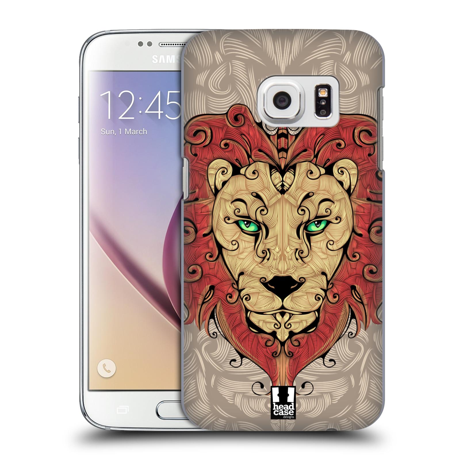 HEAD CASE plastový obal na mobil SAMSUNG GALAXY S7 vzor kudrlinky zvíře lev