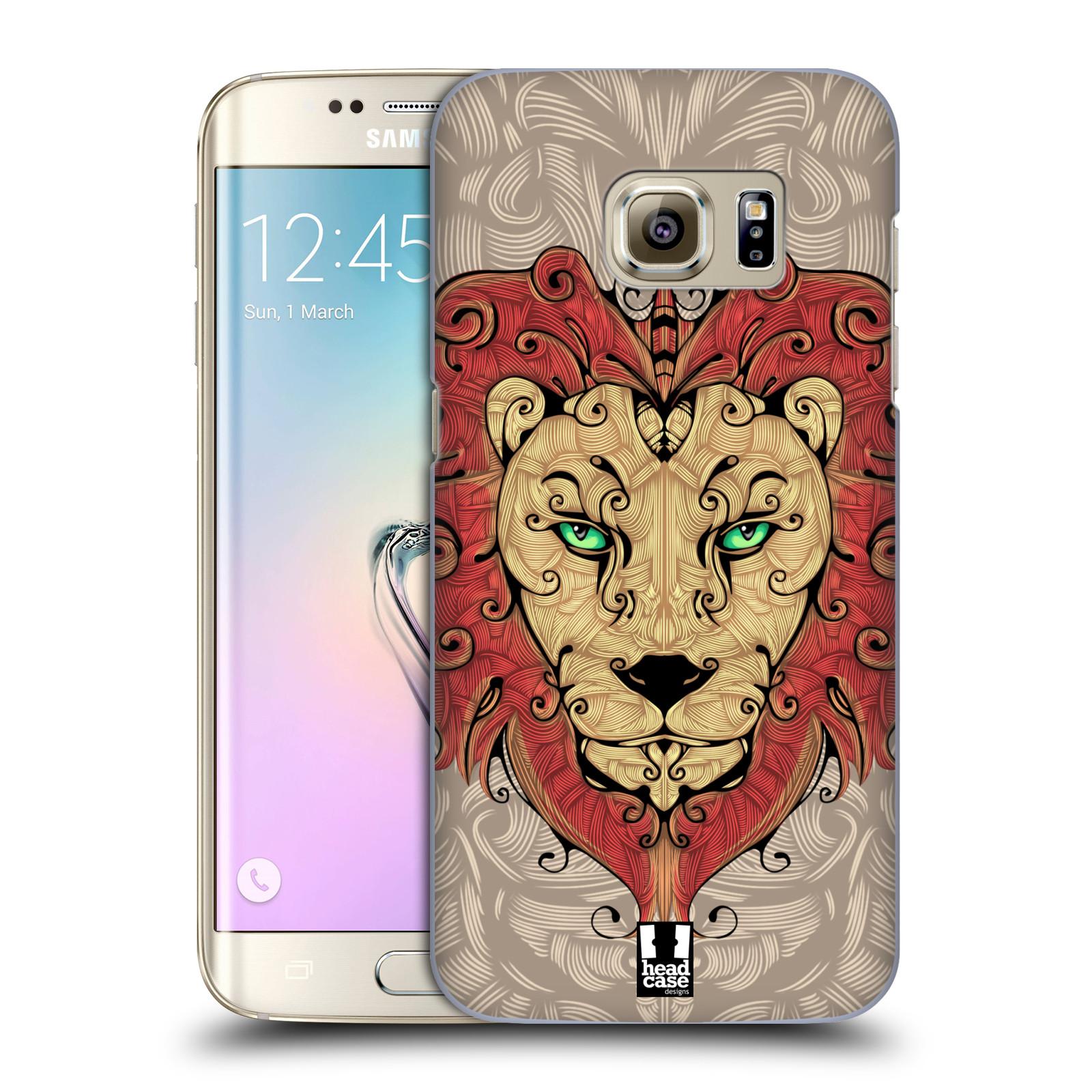 HEAD CASE plastový obal na mobil SAMSUNG GALAXY S7 EDGE vzor kudrlinky zvíře lev