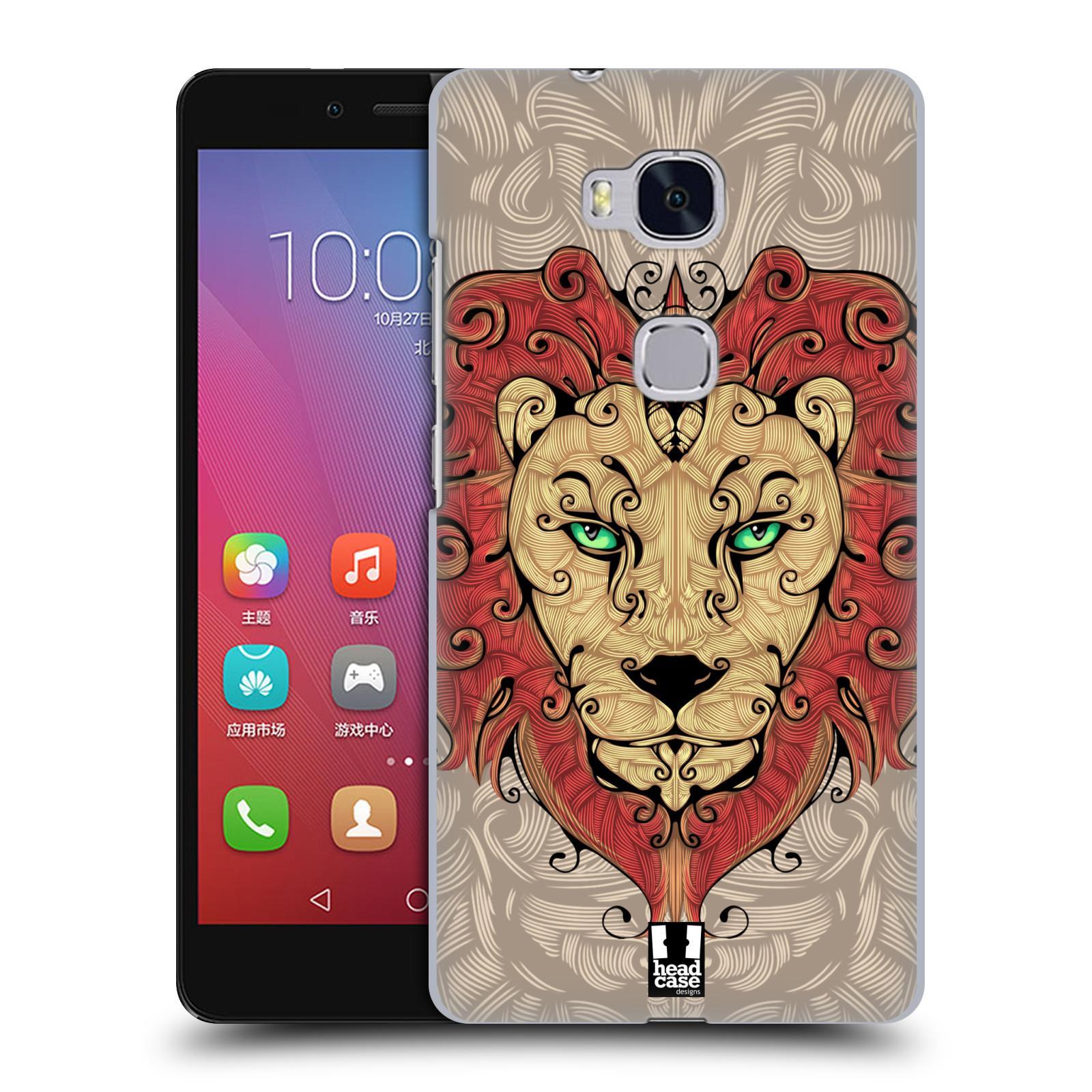 HEAD CASE pevný plastový obal na mobil HUAWEI HONOR 5X vzor kudrlinky zvíře lev