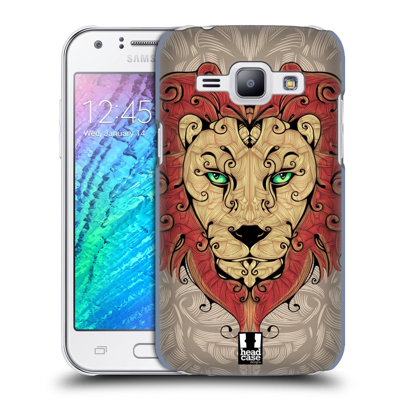 HEAD CASE plastový obal na mobil SAMSUNG Galaxy J1, J100 vzor kudrlinky zvíře lev