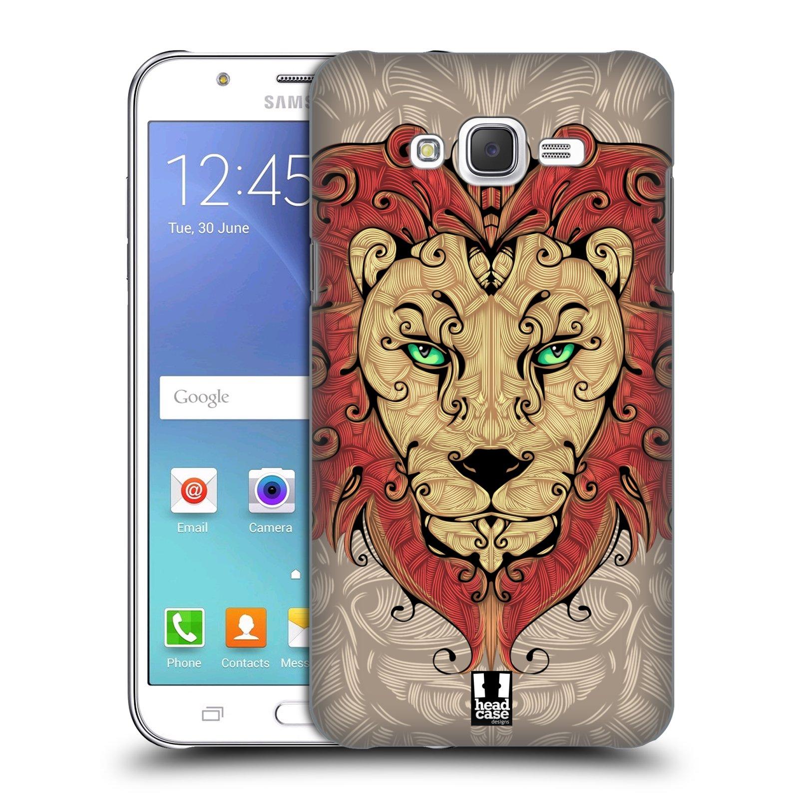 HEAD CASE plastový obal na mobil SAMSUNG Galaxy J7, J700 vzor kudrlinky zvíře lev