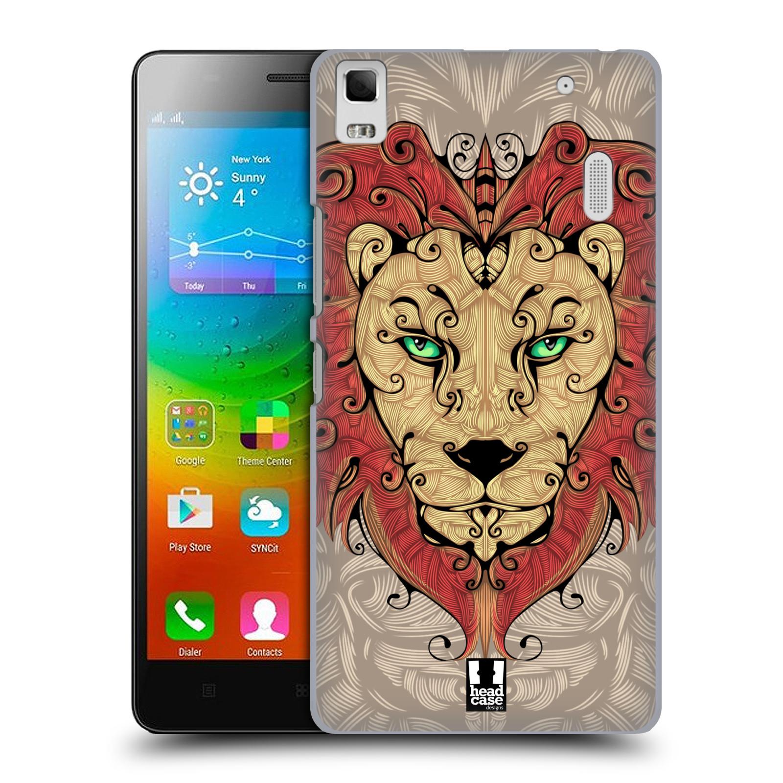 HEAD CASE pevný plastový obal na mobil LENOVO A7000 / A7000 DUAL / K3 NOTE vzor kudrlinky zvíře lev