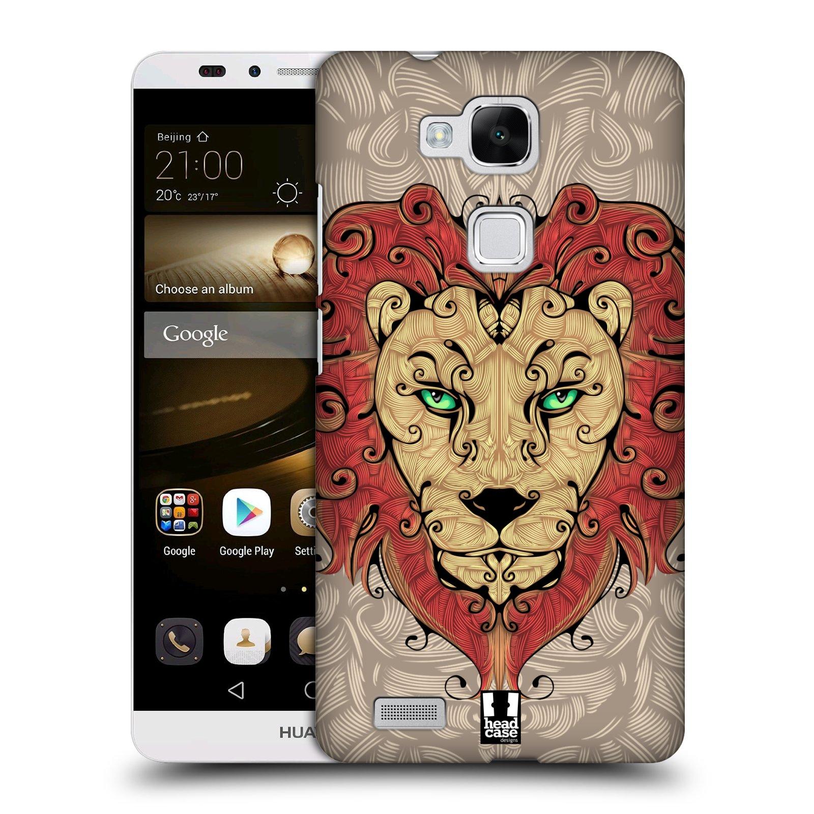HEAD CASE plastový obal na mobil Huawei Mate 7 vzor kudrlinky zvíře lev