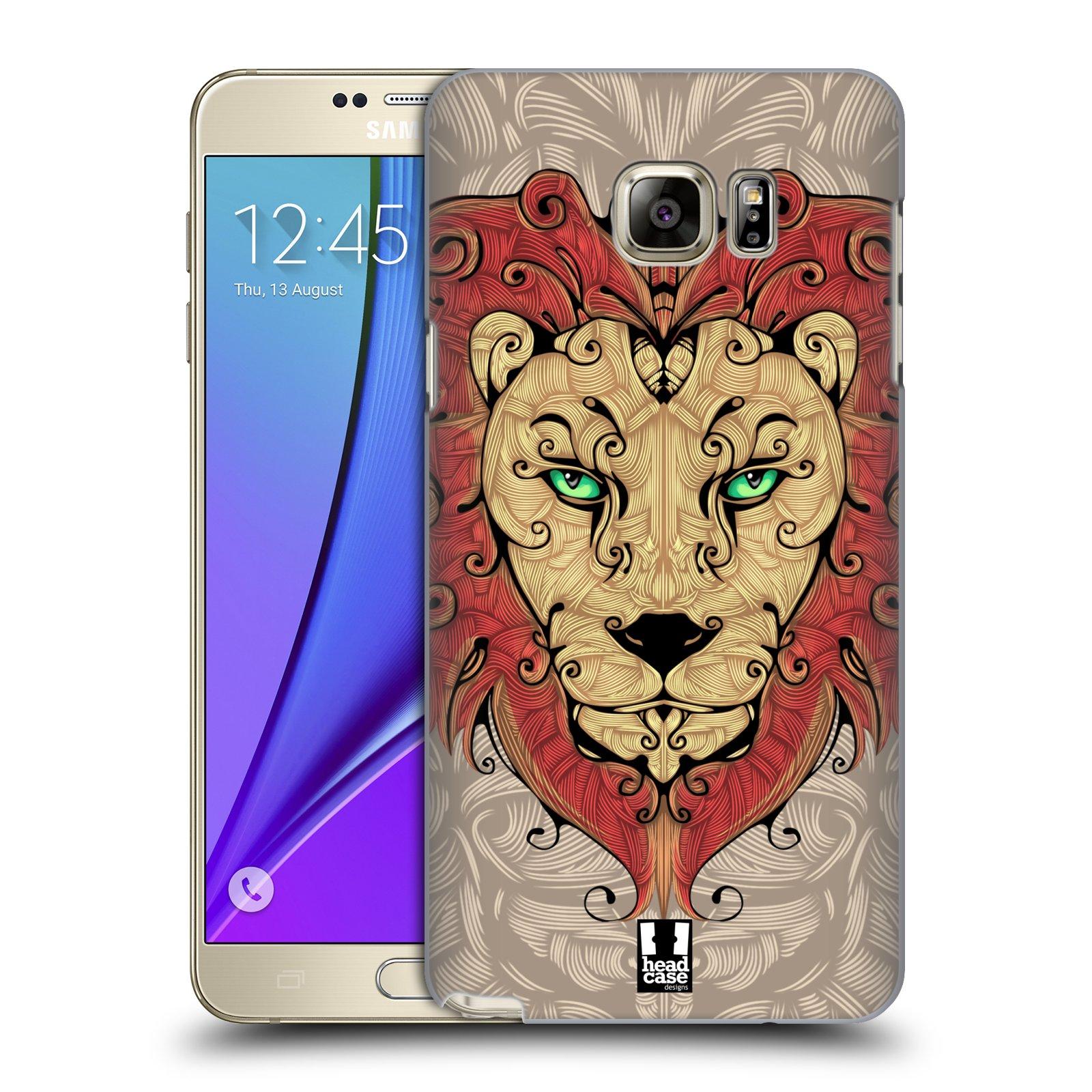 HEAD CASE plastový obal na mobil SAMSUNG Galaxy Note 5 (N920) vzor kudrlinky zvíře lev