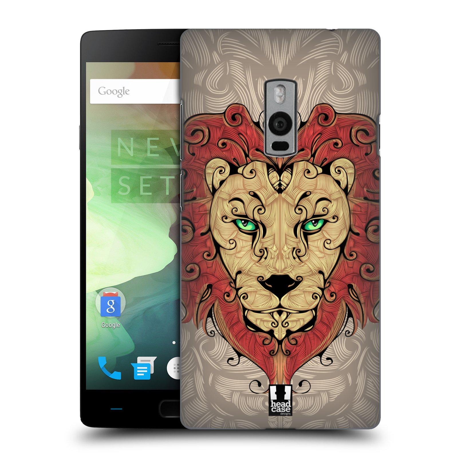 HEAD CASE pevný plastový obal na mobil OnePlus 2  ( TWO ) vzor kudrlinky zvíře lev