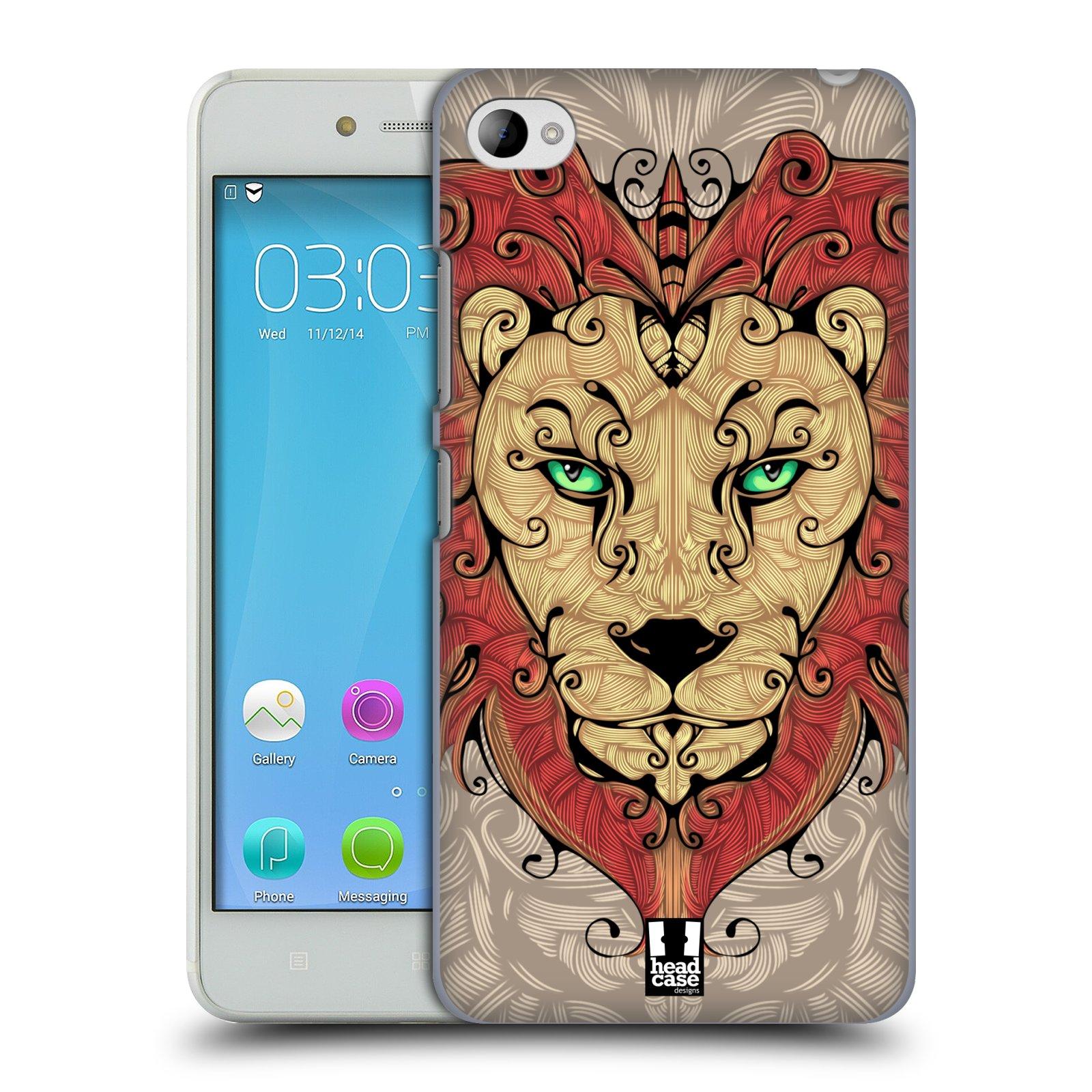 HEAD CASE pevný plastový obal na mobil LENOVO S90 vzor kudrlinky zvíře lev