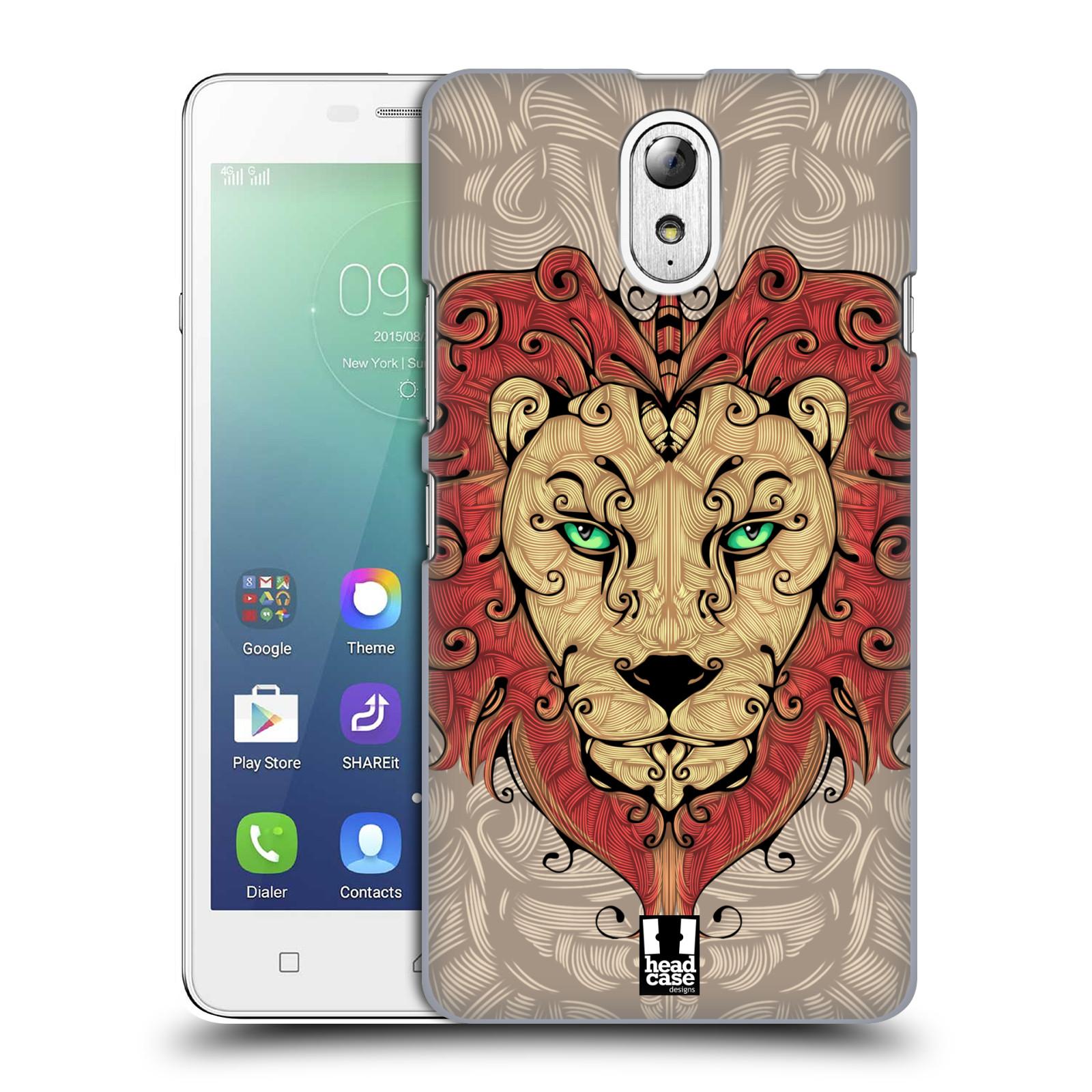 HEAD CASE pevný plastový obal na mobil LENOVO VIBE P1m / LENOVO VIBE p1m DUAL SIM vzor kudrlinky zvíře lev