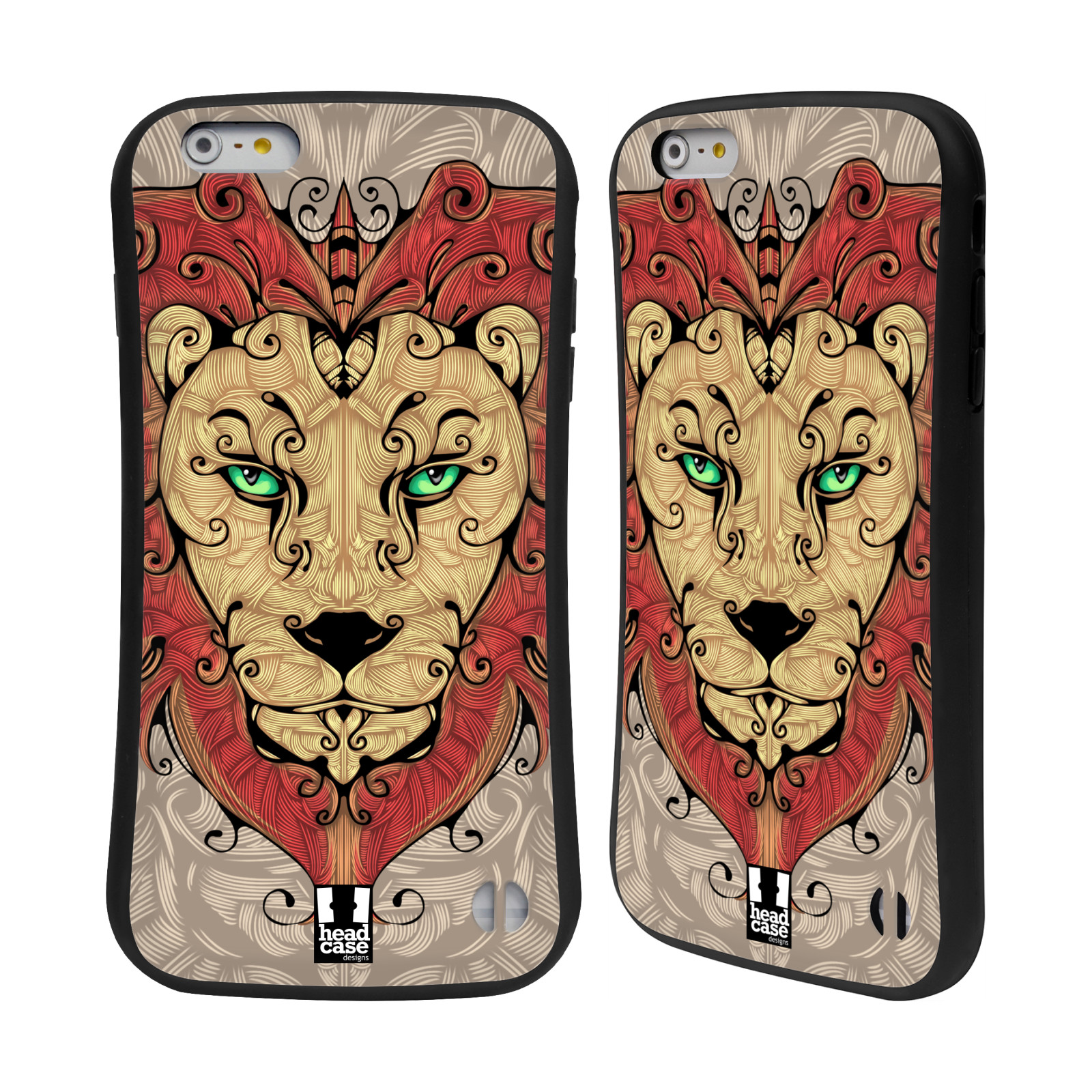 HEAD CASE silikon/plast odolný obal na mobil Apple Iphone 6 PLUS / 6S PLUS vzor kudrlinky zvíře lev