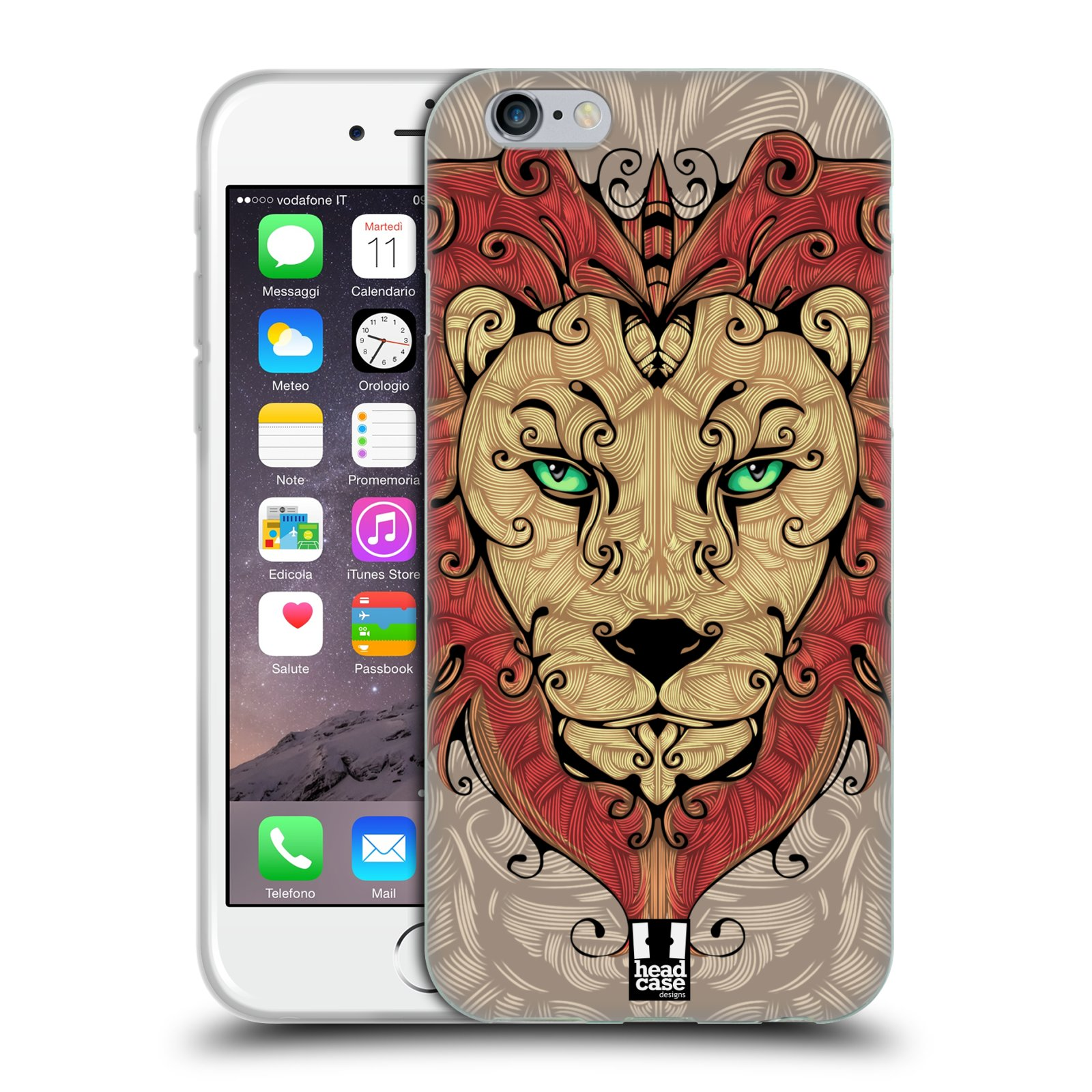 HEAD CASE silikonový obal na mobil Apple Iphone 6/6S vzor kudrlinky zvíře lev