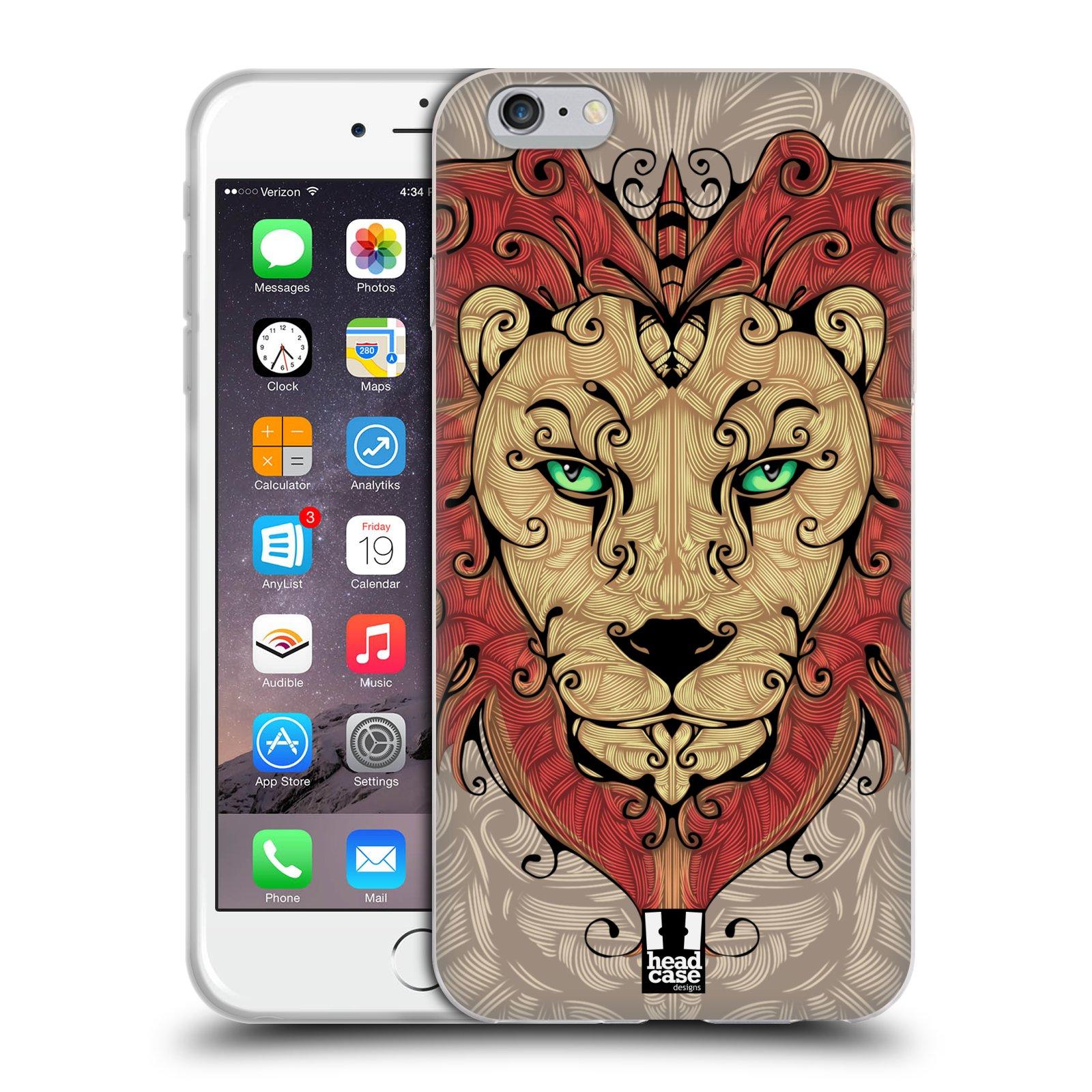 HEAD CASE silikonový obal na mobil Apple Iphone 6 PLUS/ 6S PLUS vzor kudrlinky zvíře lev