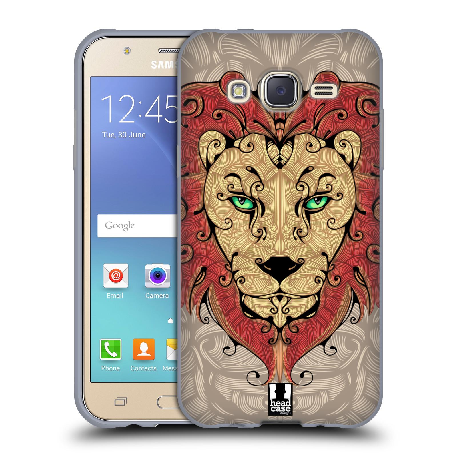 HEAD CASE silikonový obal na mobil Samsung Galaxy J5, J500, (J5 DUOS) vzor kudrlinky zvíře lev