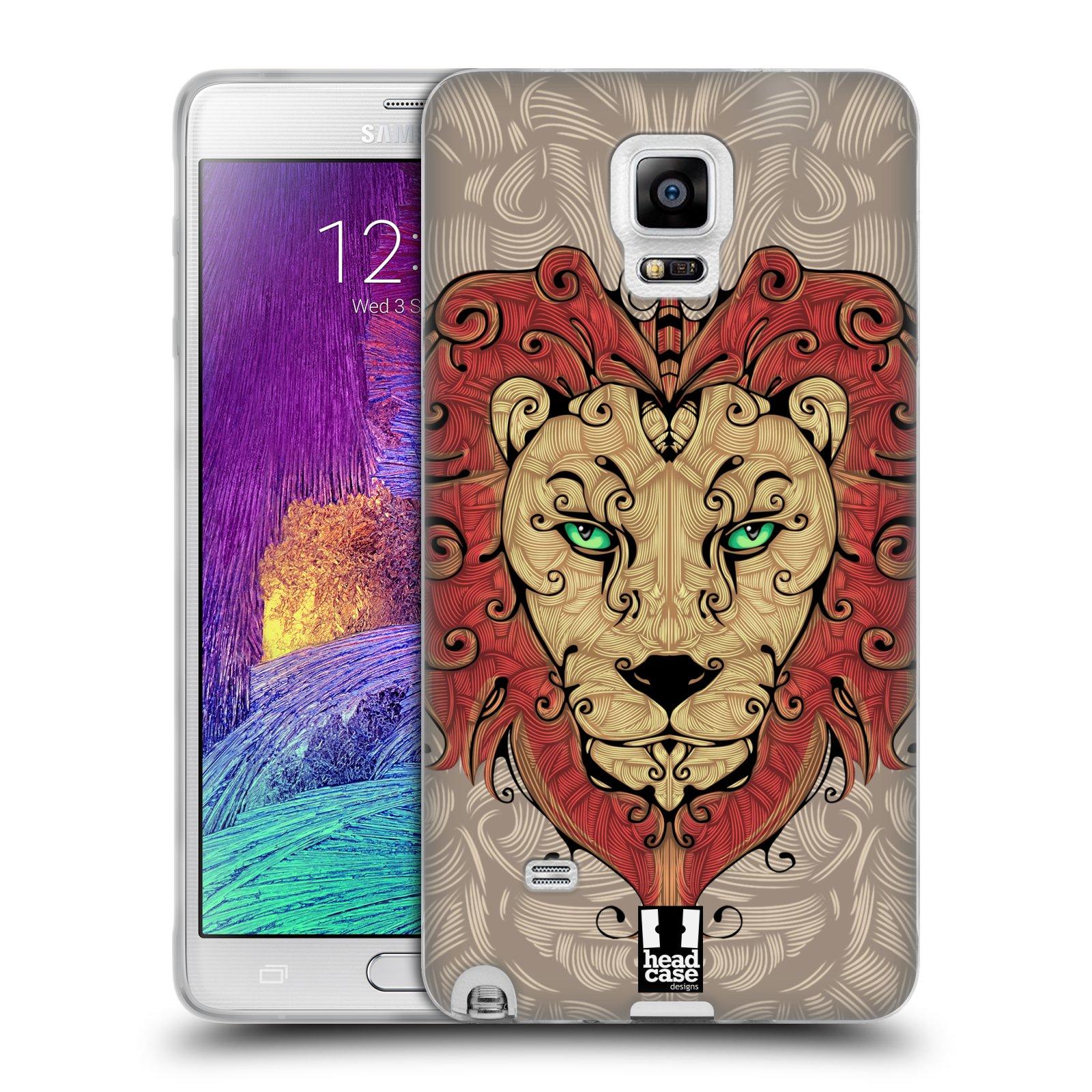 HEAD CASE silikonový obal na mobil Samsung Galaxy Note 4 (N910) vzor kudrlinky zvíře lev