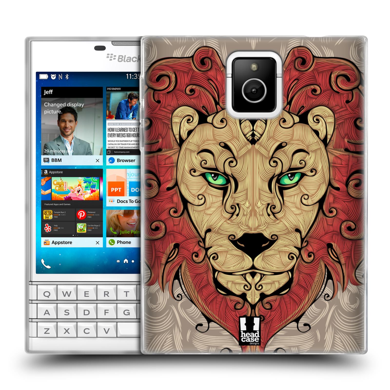 HEAD CASE silikonový obal na mobil Blackberry PASSPORT vzor kudrlinky zvíře lev