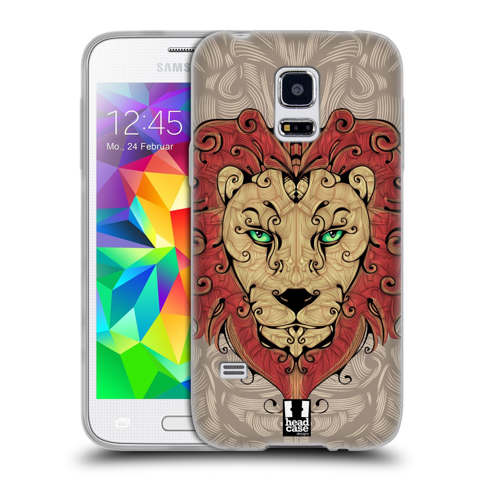 HEAD CASE silikonový obal na mobil Samsung Galaxy S5 MINI vzor kudrlinky zvíře lev
