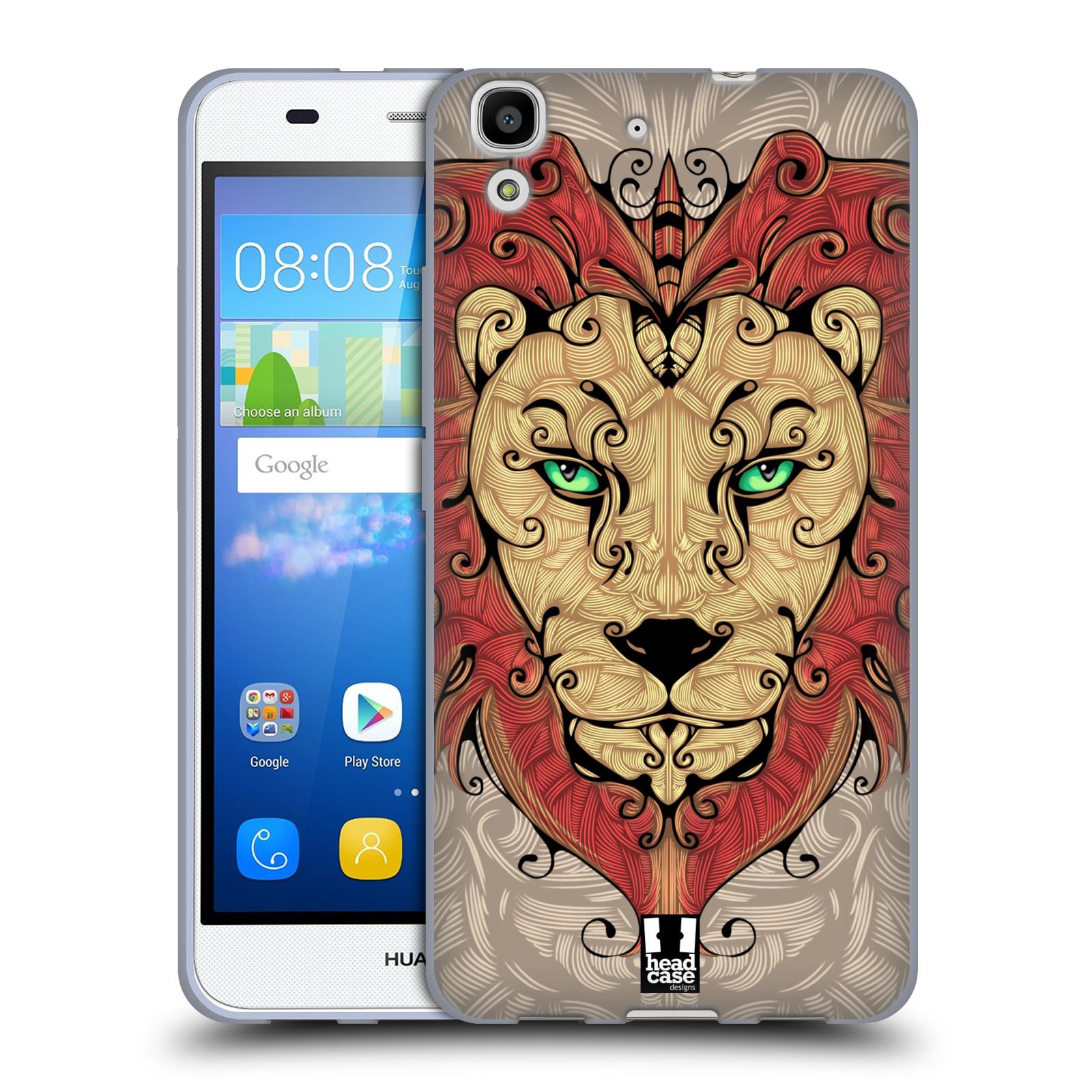 HEAD CASE silikonový obal na mobil HUAWEI Y6 vzor kudrlinky zvíře lev