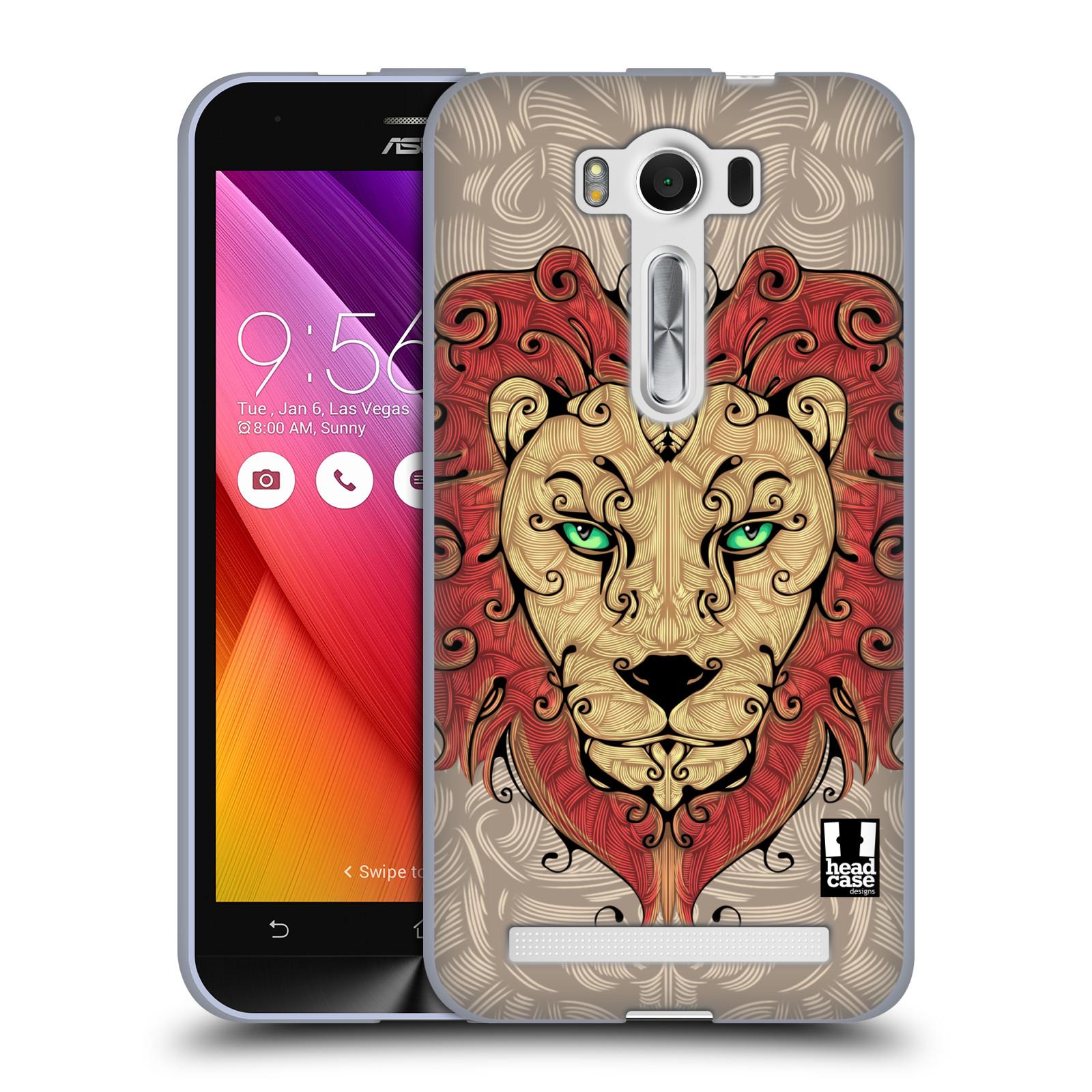 """HEAD CASE silikonový obal na mobil Asus Zenfone 2 LASER (ZE500KL s 5"""" displejem) vzor kudrlinky zvíře lev"""