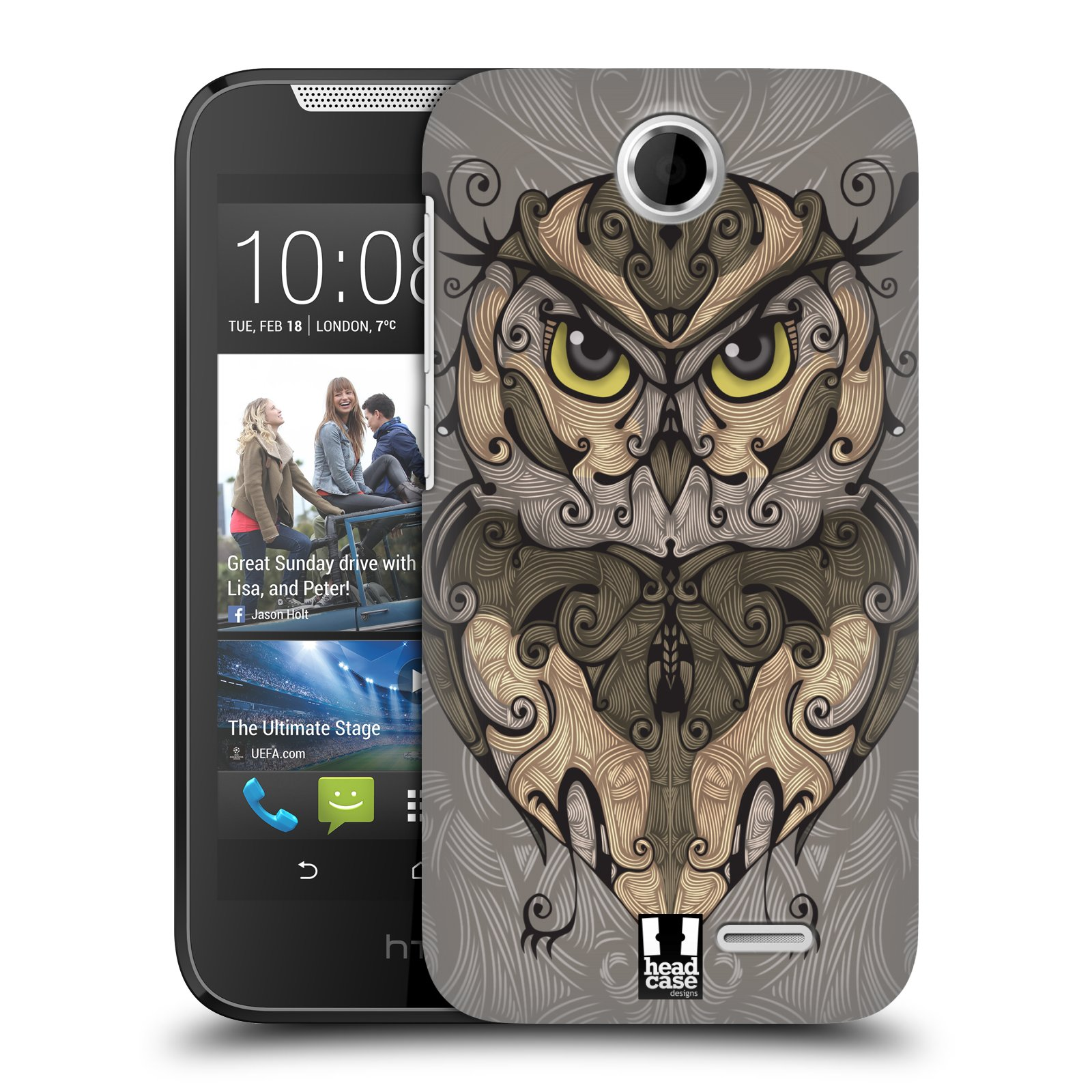 HEAD CASE plastový obal na mobil HTC Desire 310 vzor kudrlinky zvíře sova