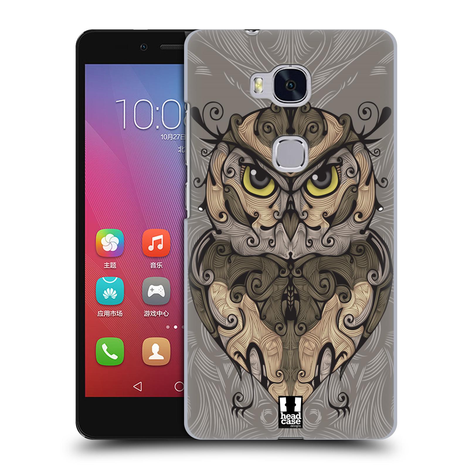 HEAD CASE pevný plastový obal na mobil HUAWEI HONOR 5X vzor kudrlinky zvíře sova