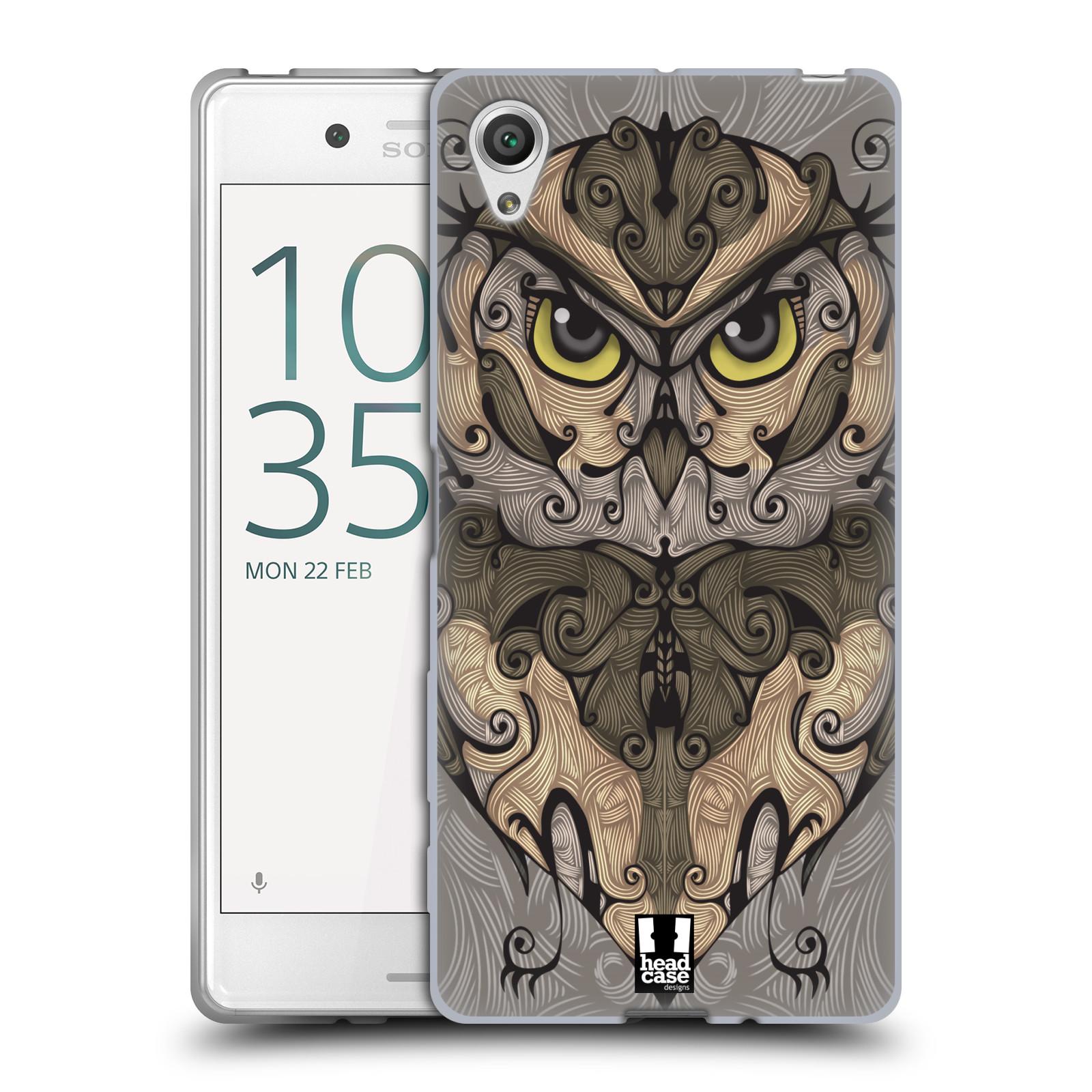 HEAD CASE silikonový obal na mobil Sony Xperia X / X DUAL vzor kudrlinky zvíře sova
