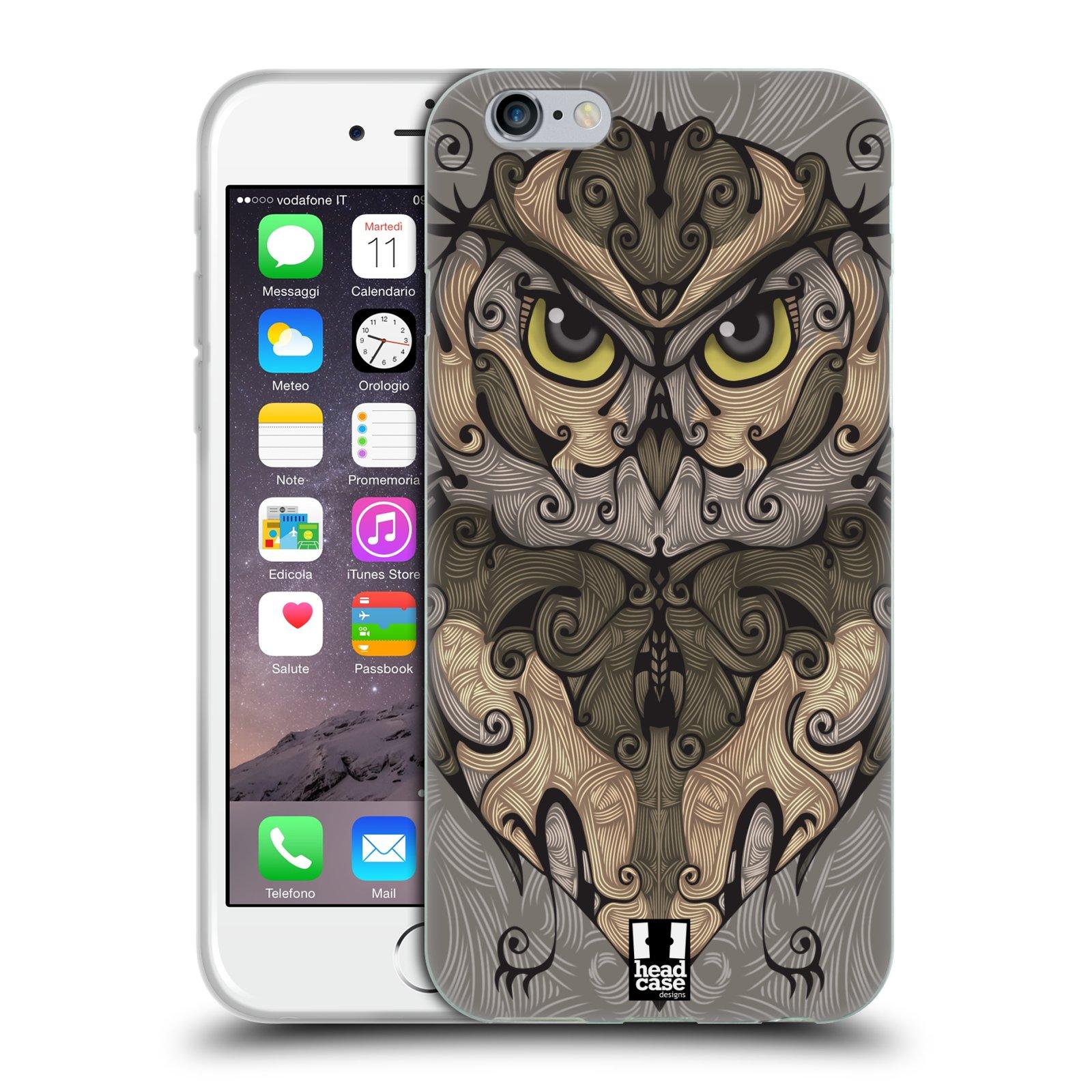 HEAD CASE silikonový obal na mobil Apple Iphone 6/6S vzor kudrlinky zvíře sova