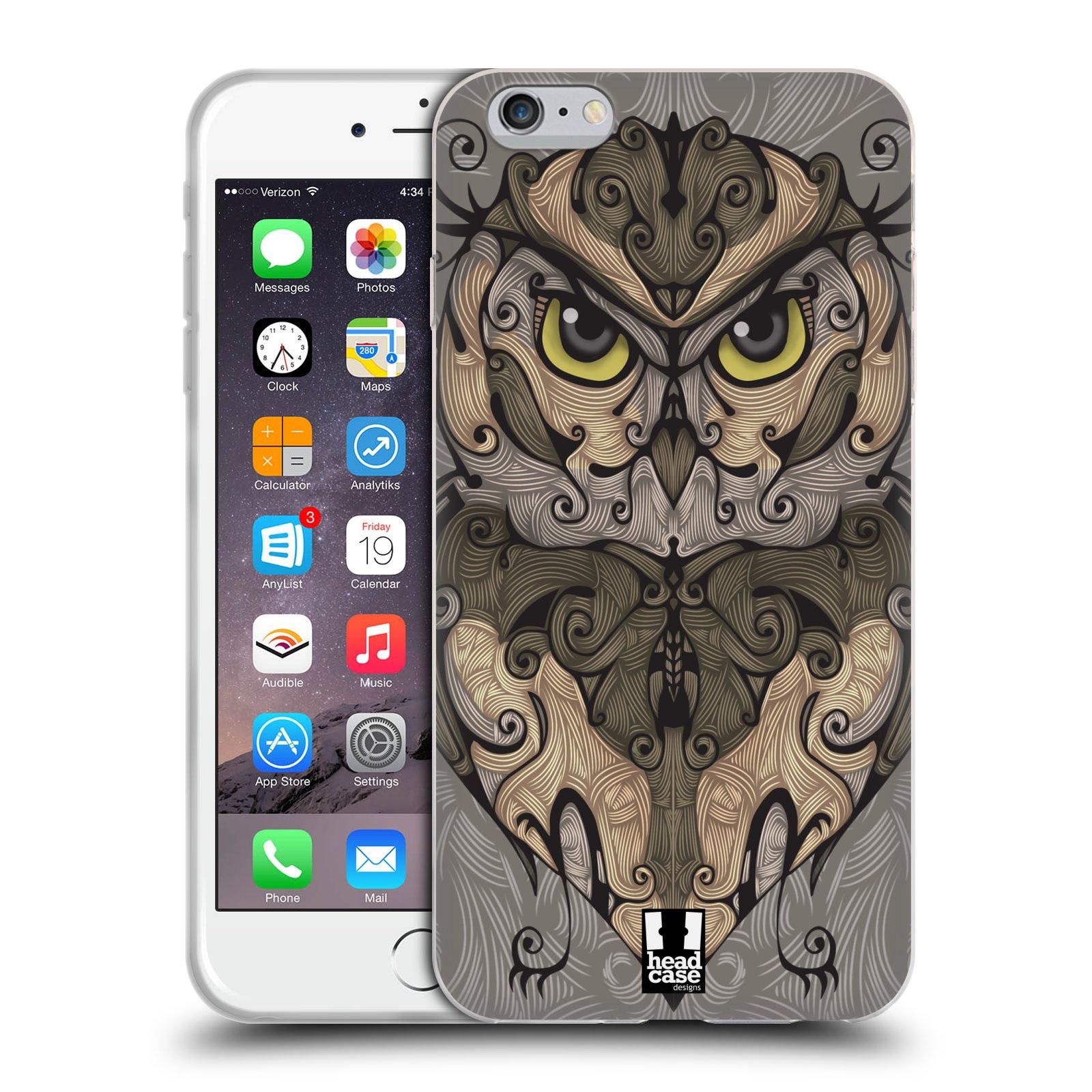 HEAD CASE silikonový obal na mobil Apple Iphone 6 PLUS/ 6S PLUS vzor kudrlinky zvíře sova