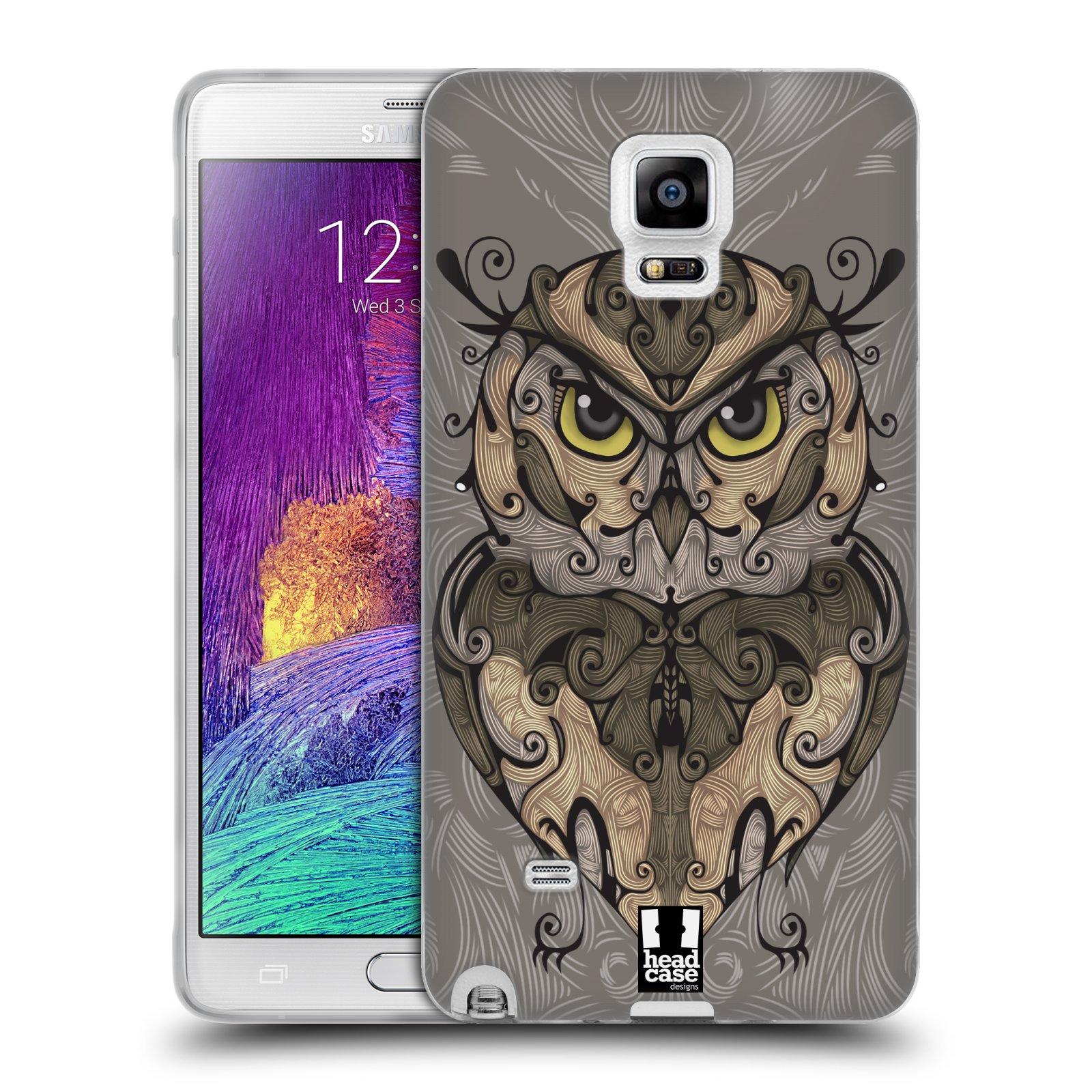 HEAD CASE silikonový obal na mobil Samsung Galaxy Note 4 (N910) vzor kudrlinky zvíře sova
