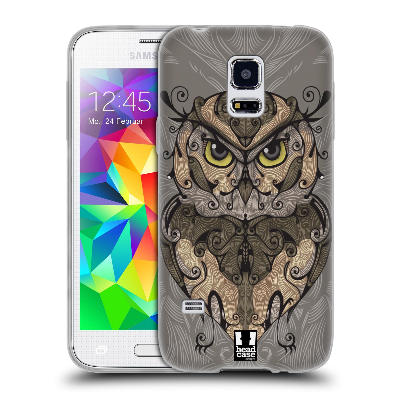 HEAD CASE silikonový obal na mobil Samsung Galaxy S5 MINI vzor kudrlinky zvíře sova