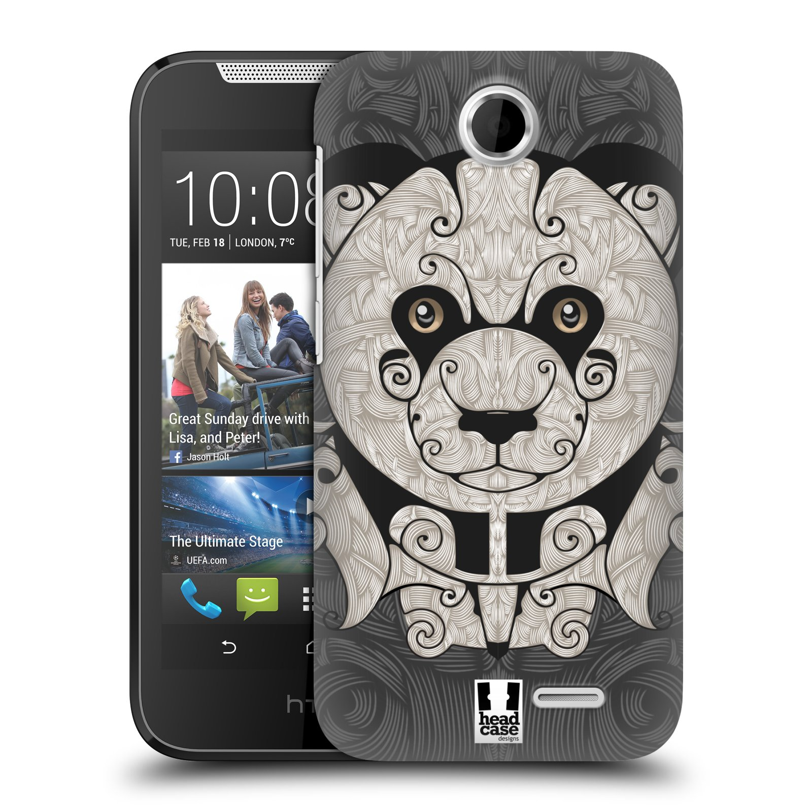 HEAD CASE plastový obal na mobil HTC Desire 310 vzor kudrlinky zvíře panda