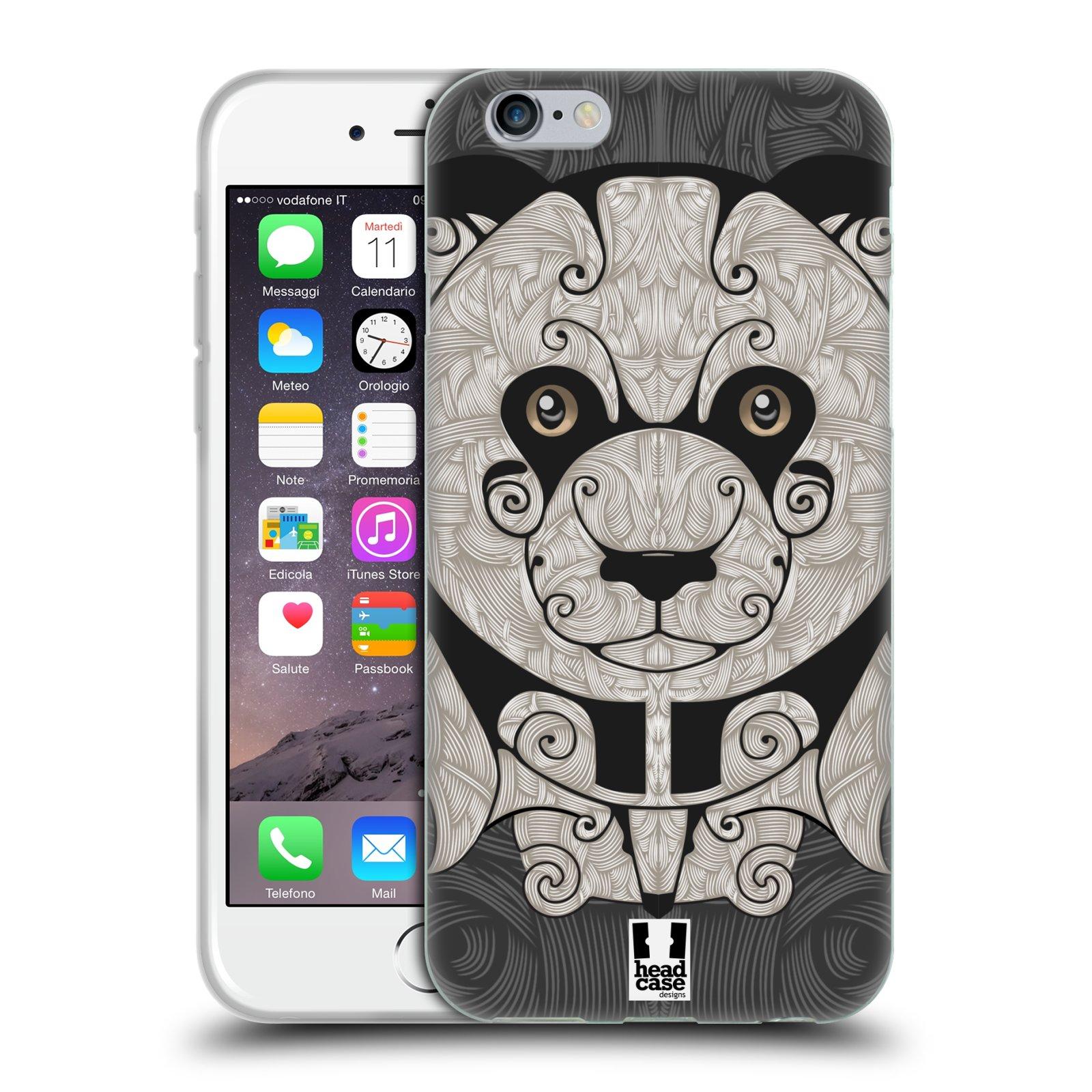 HEAD CASE silikonový obal na mobil Apple Iphone 6/6S vzor kudrlinky zvíře panda