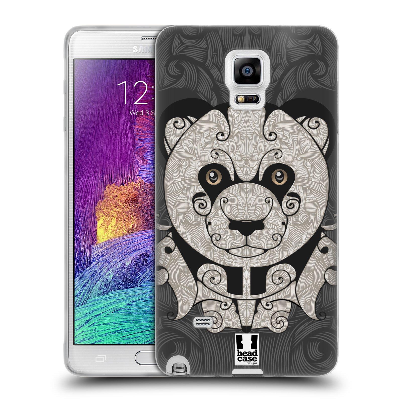 HEAD CASE silikonový obal na mobil Samsung Galaxy Note 4 (N910) vzor kudrlinky zvíře panda