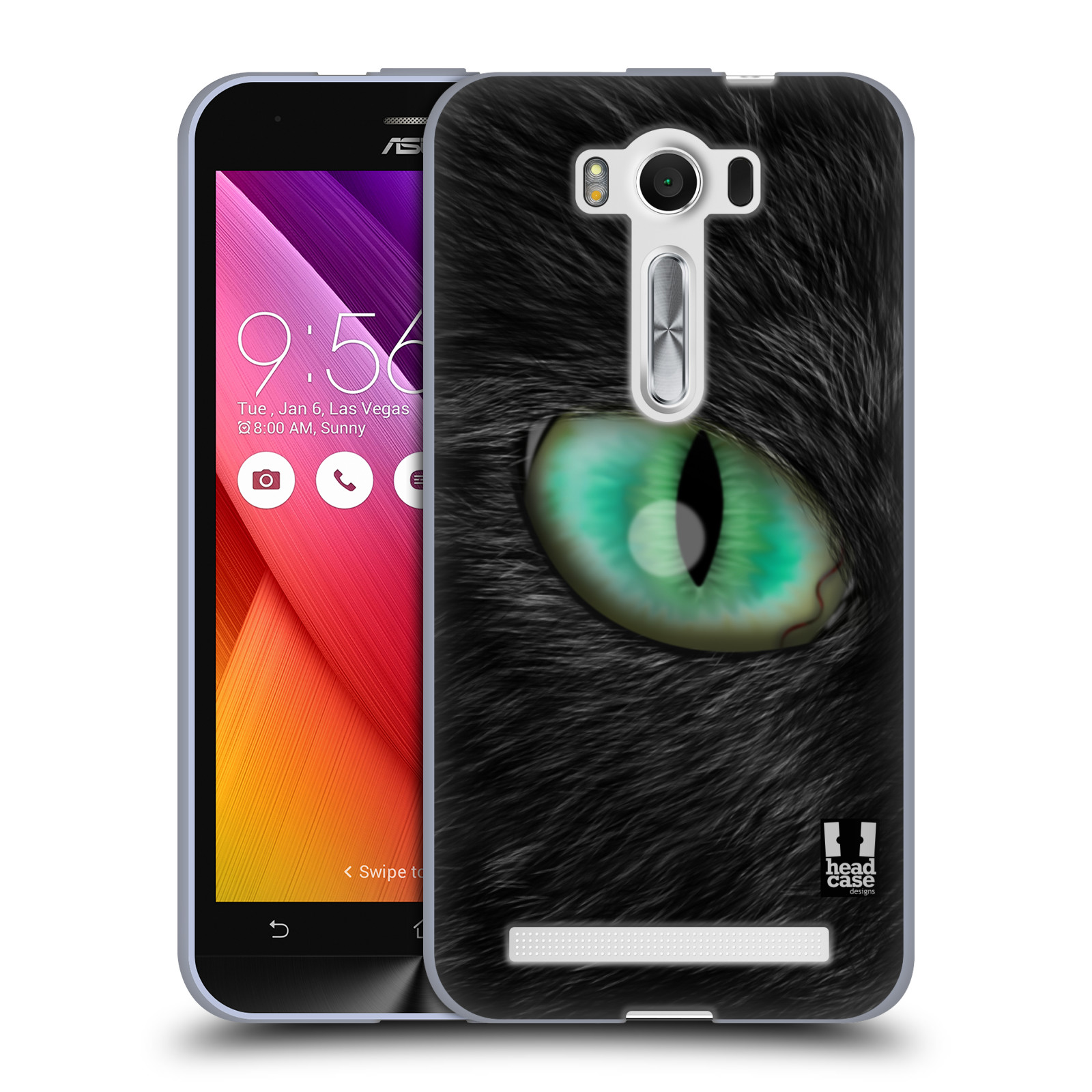 """HEAD CASE silikonový obal na mobil Asus Zenfone 2 LASER (ZE500KL s 5"""" displejem) vzor pohled zvířete oko kočka"""