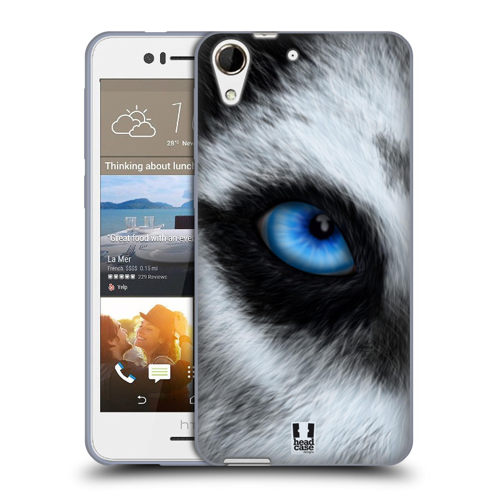 HEAD CASE silikonový obal na mobil HTC Desire 728 / HTC Desire 728G DUAL SIM vzor pohled zvířete oko pes husky