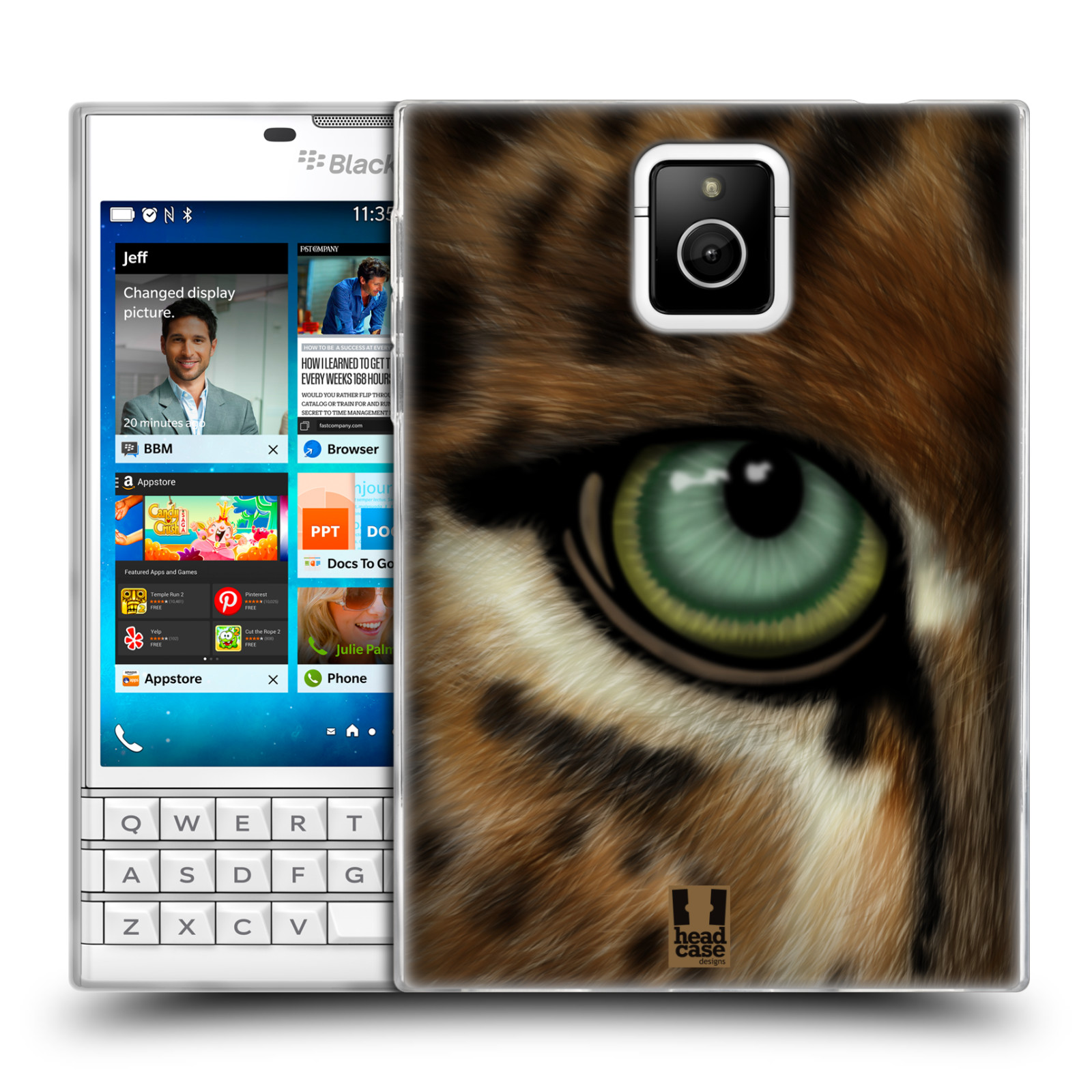 HEAD CASE silikonový obal na mobil Blackberry PASSPORT vzor pohled zvířete oko leopard