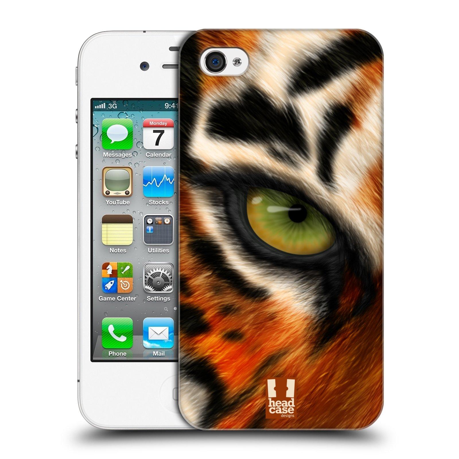 HEAD CASE plastový obal na mobil Apple Iphone 4/4S vzor pohled zvířete oko tygr