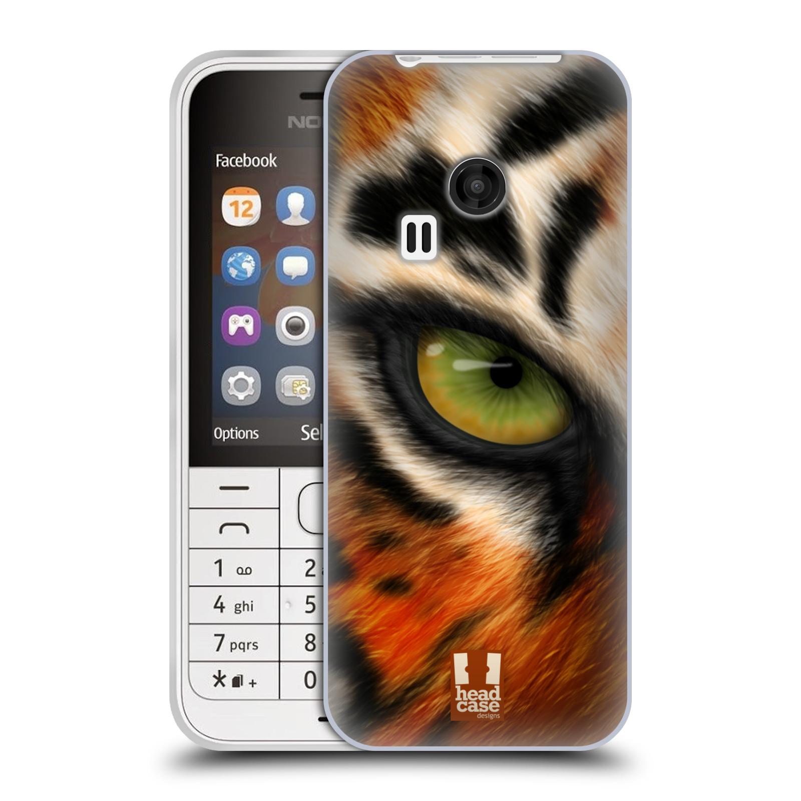 HEAD CASE silikonový obal na mobil NOKIA 220 / NOKIA 220 DUAL SIM vzor pohled zvířete oko tygr