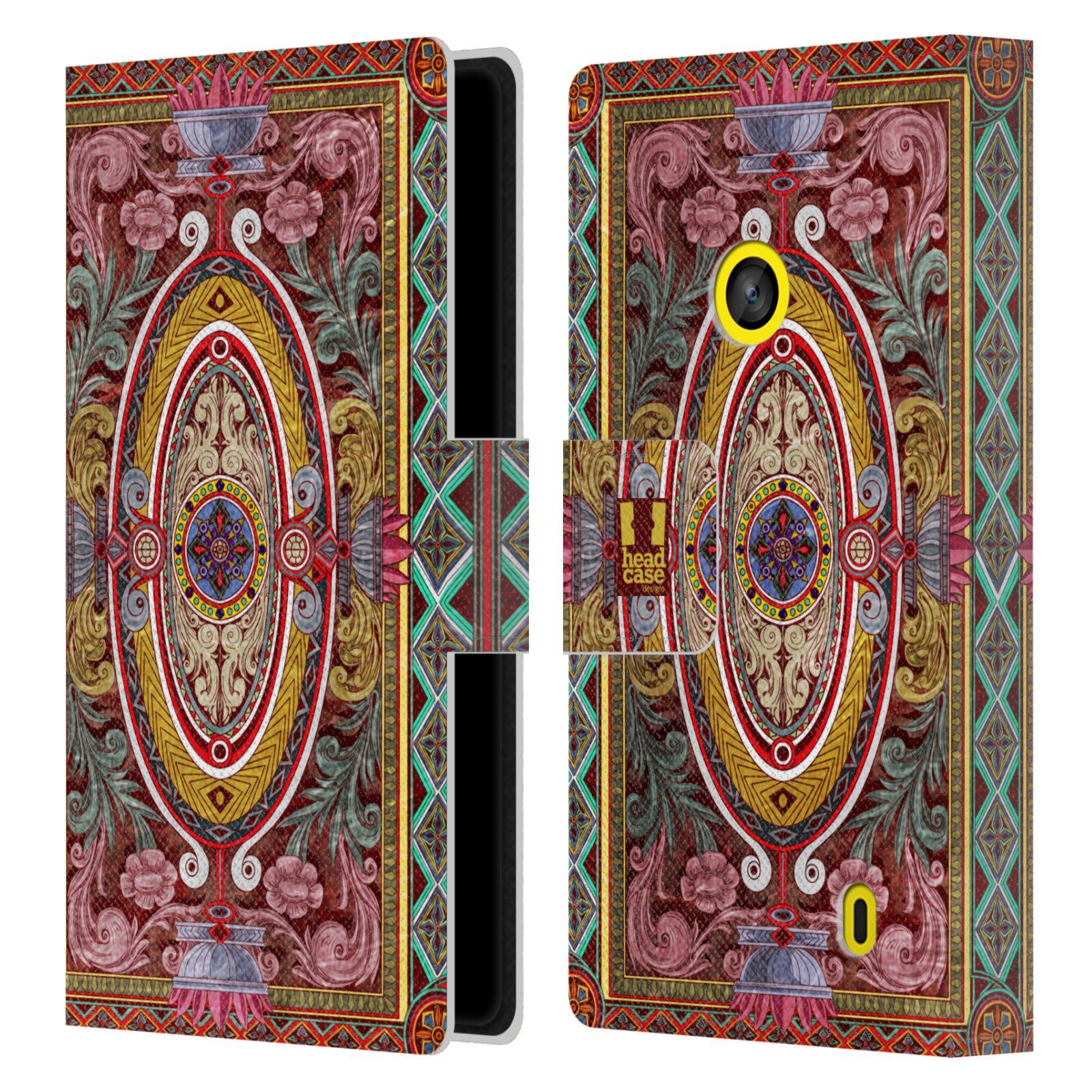 HEAD CASE Flipové pouzdro pro mobil NOKIA LUMIA 520 / 525 ARABESKA Baroko červená