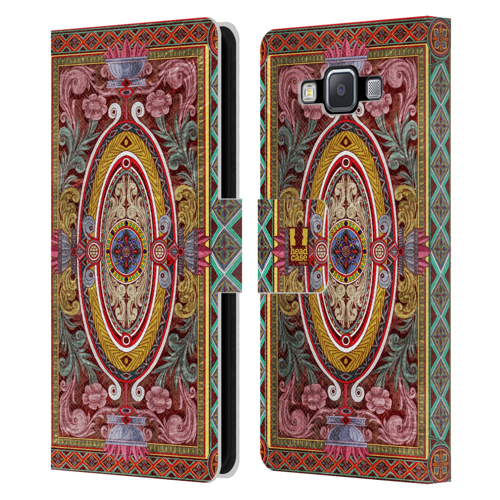 HEAD CASE Flipové pouzdro pro mobil Samsung Galaxy A5 ARABESKA Baroko červená