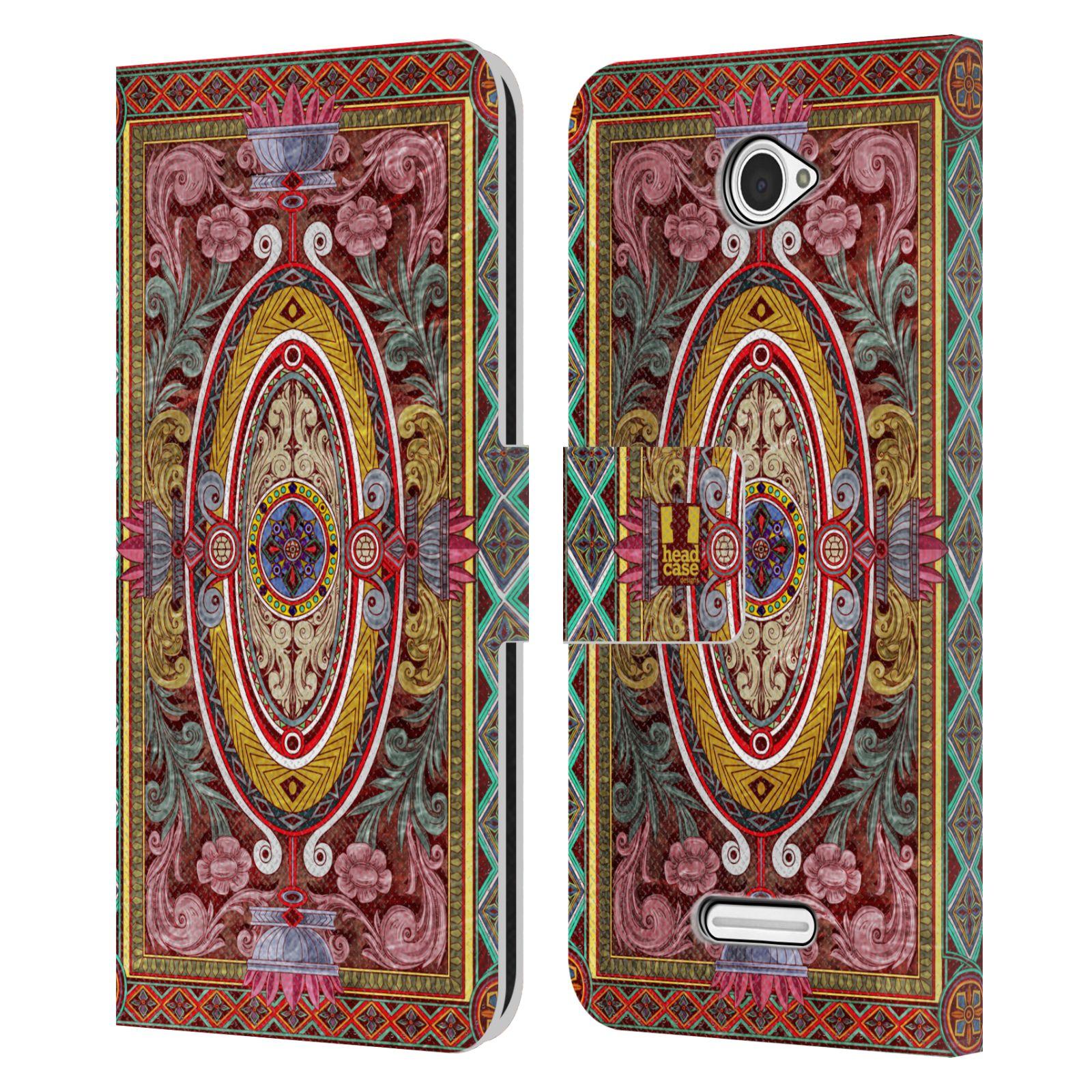 HEAD CASE Flipové pouzdro pro mobil SONY XPERIA E4 ARABESKA Baroko červená