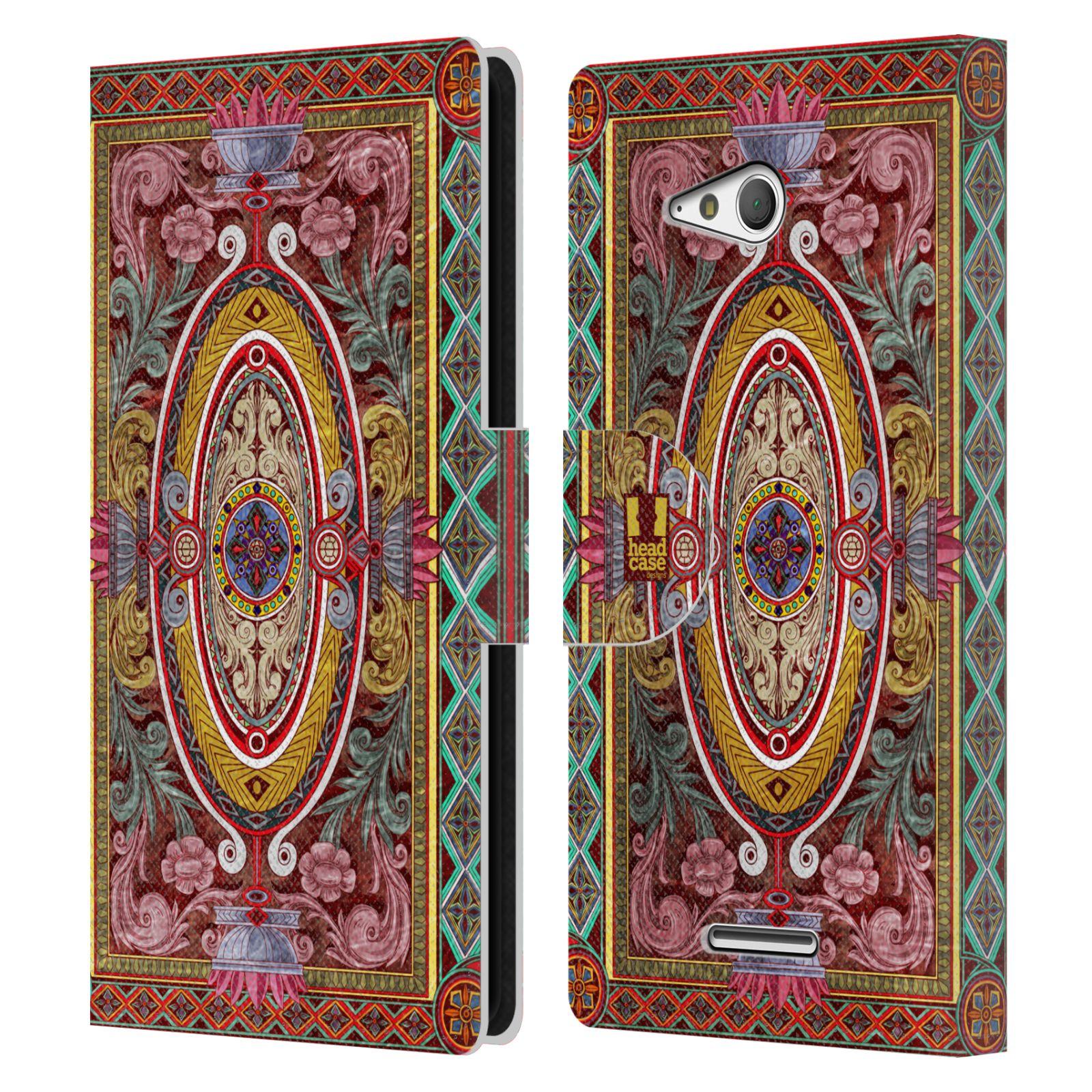 HEAD CASE Flipové pouzdro pro mobil SONY XPERIA E4g ARABESKA Baroko červená