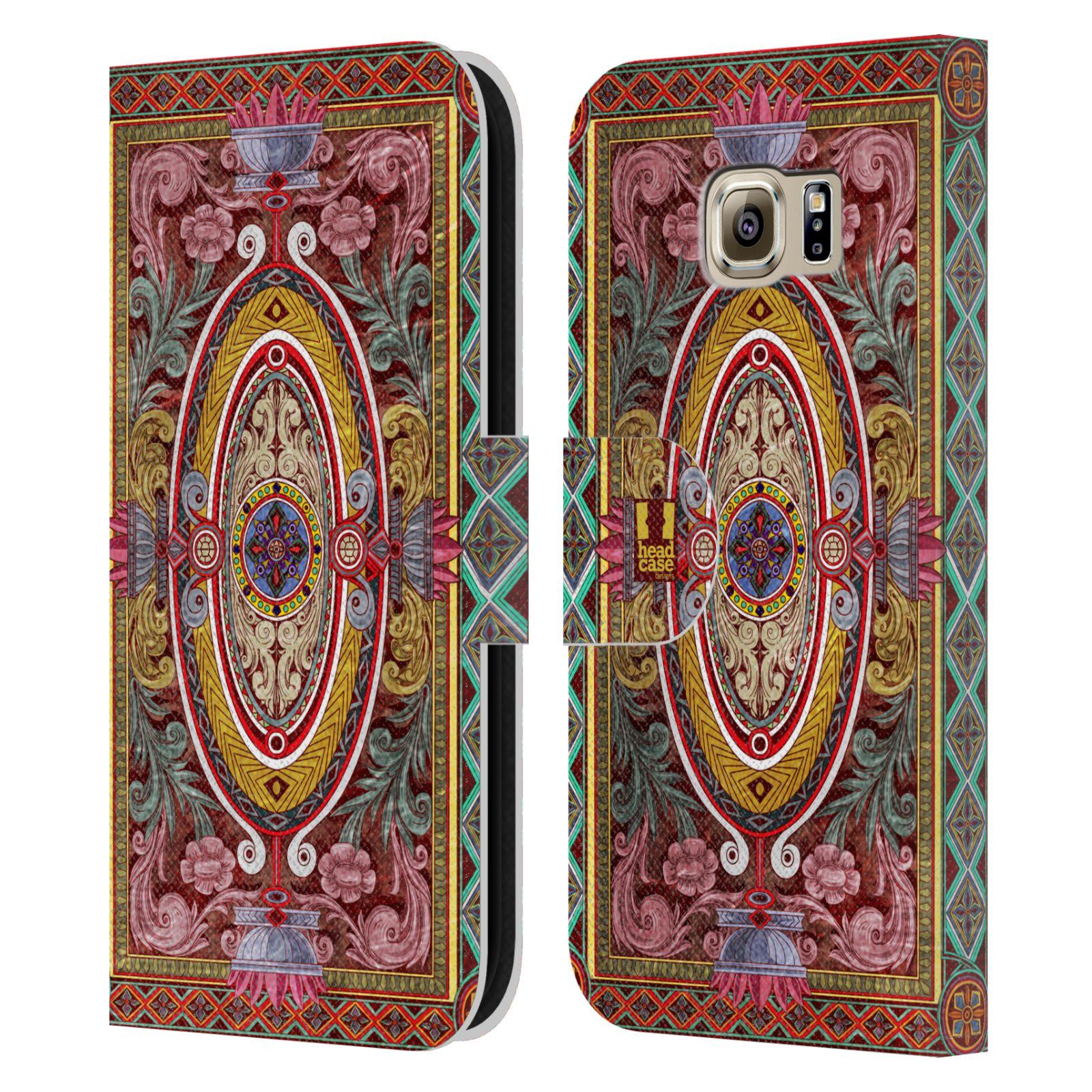 HEAD CASE Flipové pouzdro pro mobil Samsung Galaxy S6 (G9200) ARABESKA Baroko červená