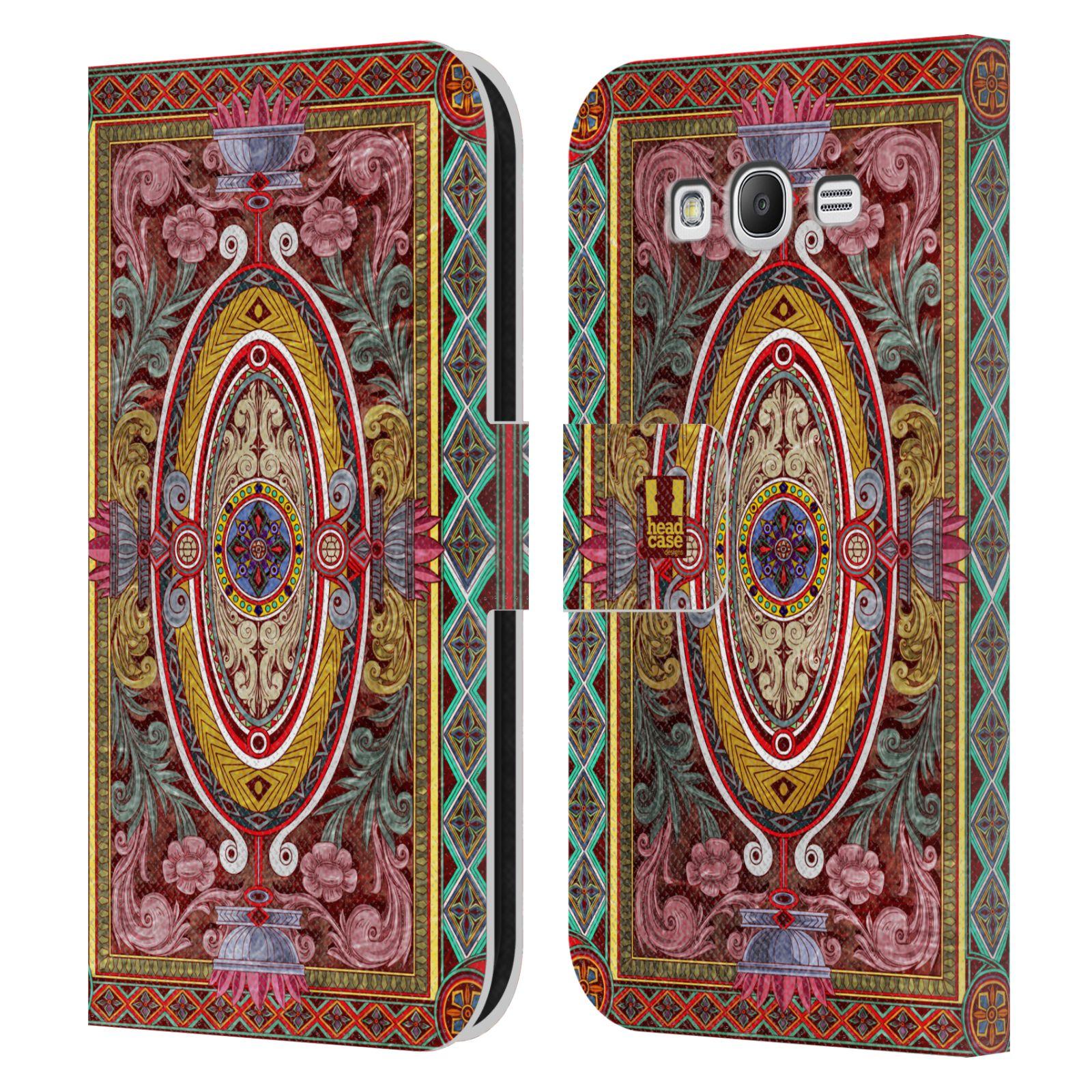 HEAD CASE Flipové pouzdro pro mobil Samsung Galaxy Grand i9080 ARABESKA Baroko červená