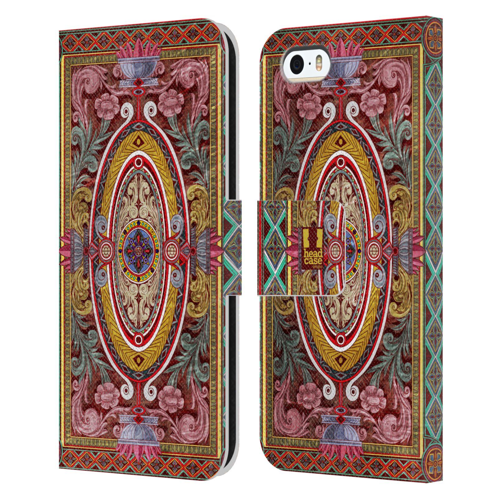 HEAD CASE Flipové pouzdro pro mobil Apple Iphone 5/5s ARABESKA Baroko červená