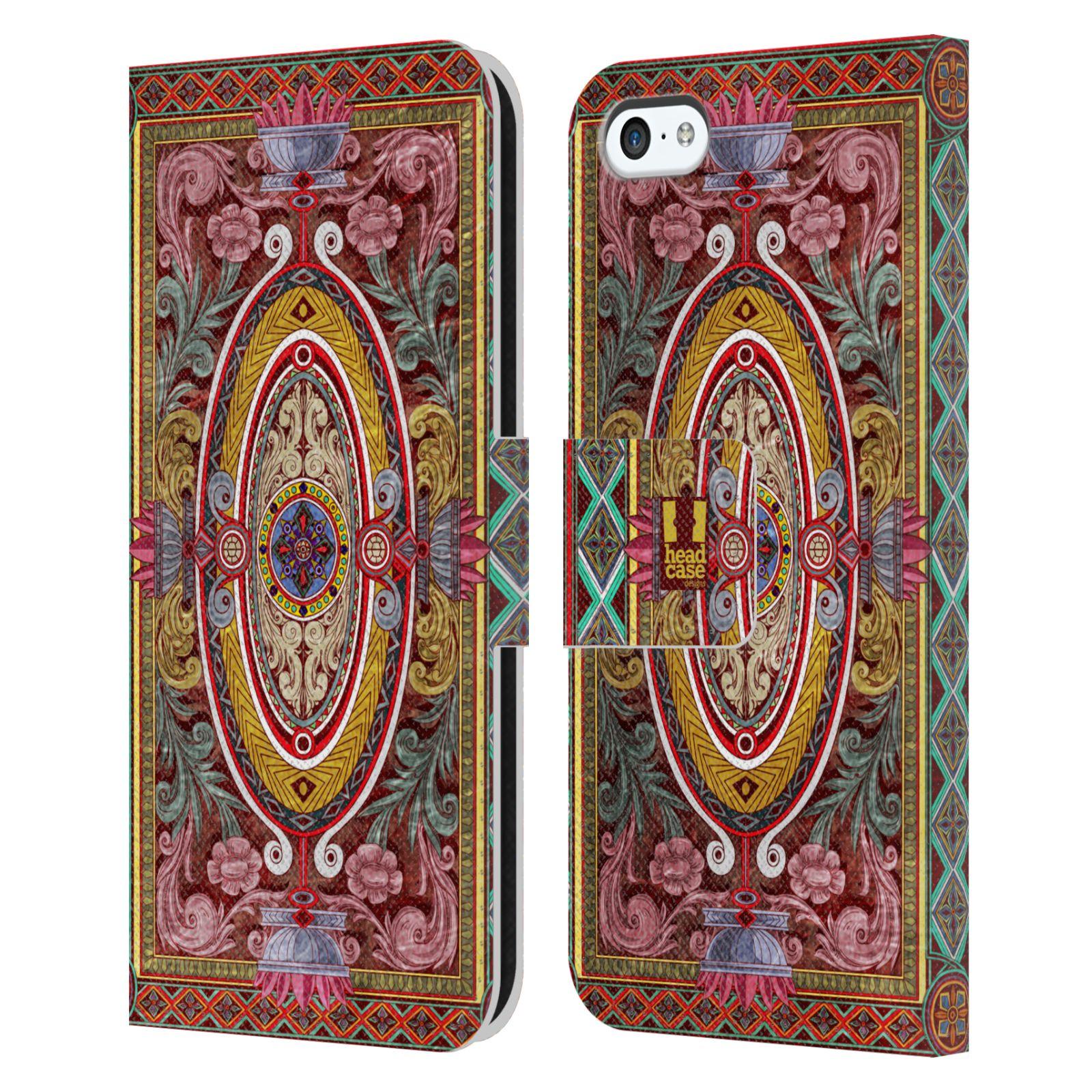 HEAD CASE Flipové pouzdro pro mobil Apple Iphone 5C ARABESKA Baroko červená