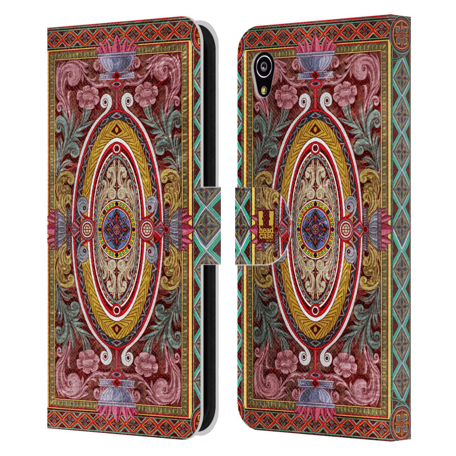 HEAD CASE Flipové pouzdro pro mobil SONY XPERIA M4 AQUA ARABESKA Baroko červená