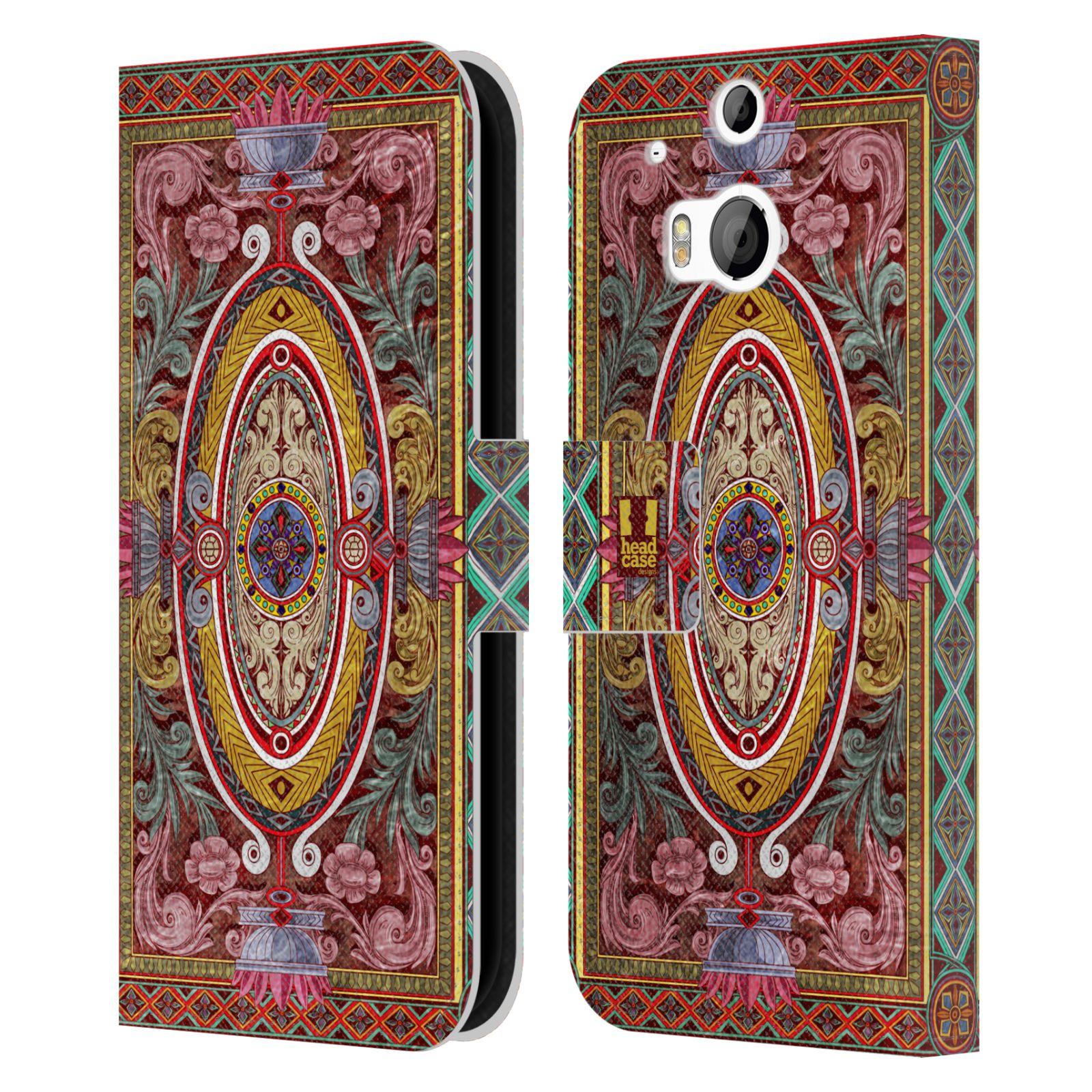 HEAD CASE Flipové pouzdro pro mobil HTC ONE (M8, M8s) ARABESKA Baroko červená
